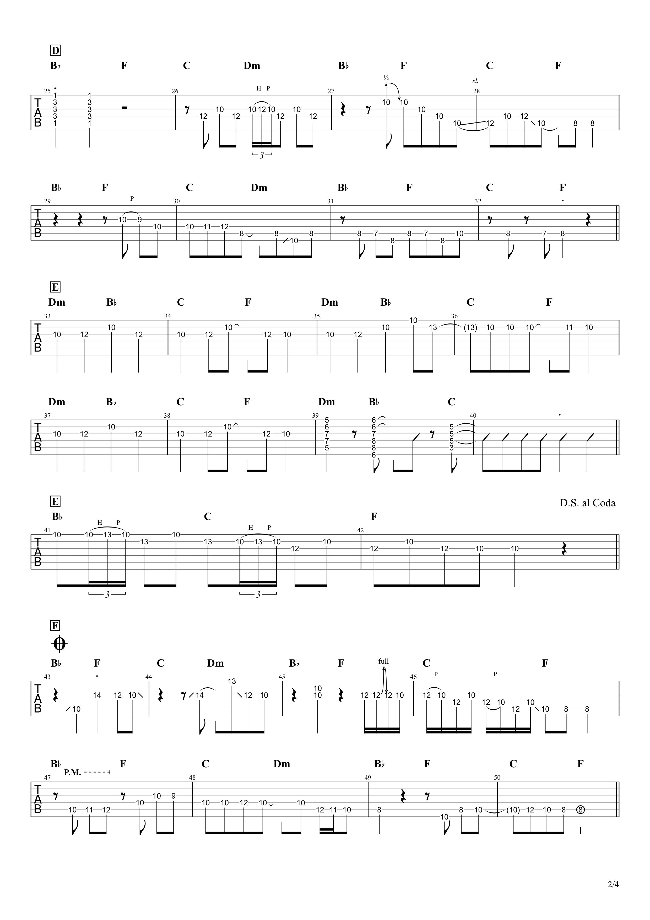 ただ君に晴れ/ヨルシカ ギタータブ譜スコア02