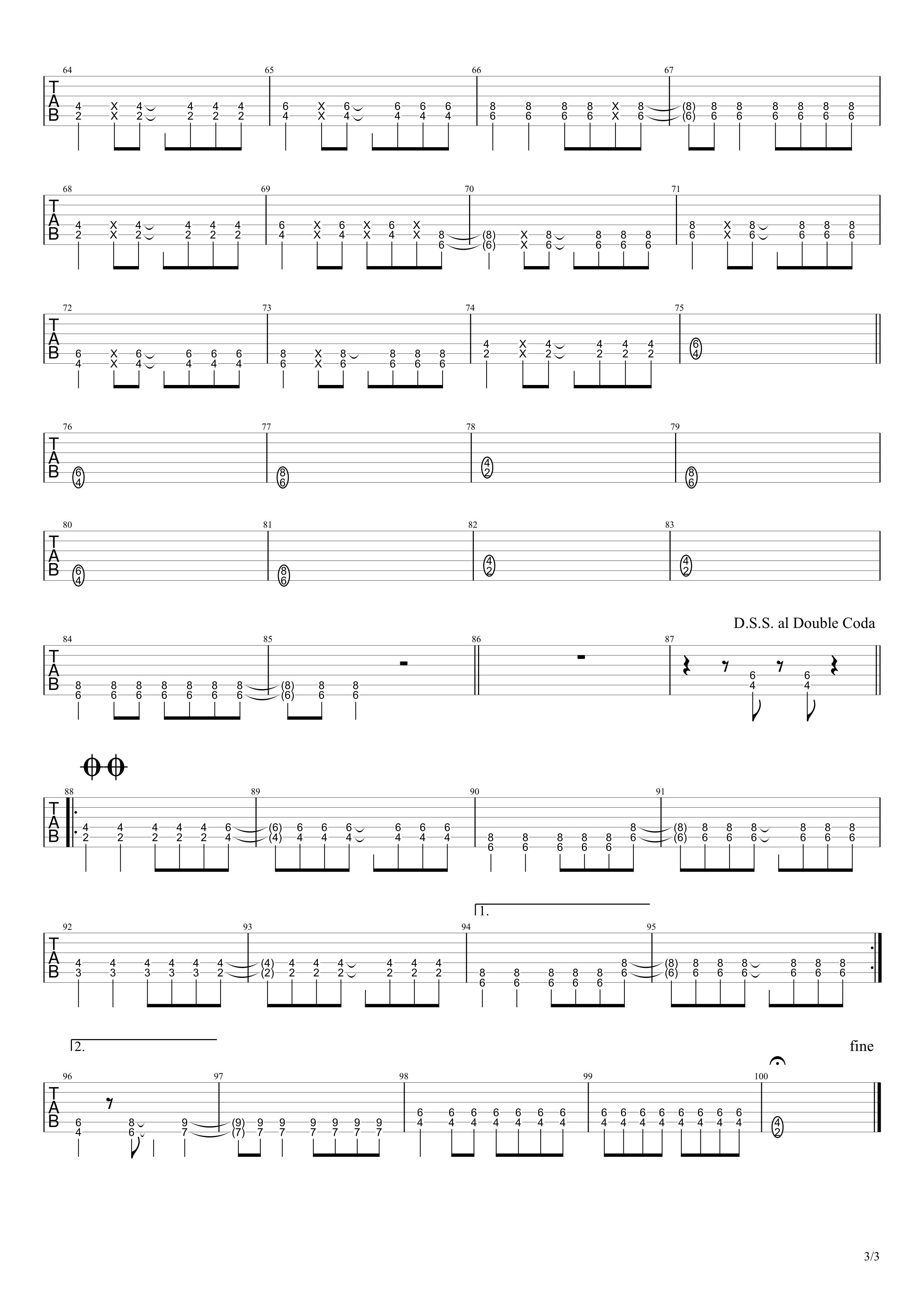 コネクト/ClariS ギタータブ譜スコア03