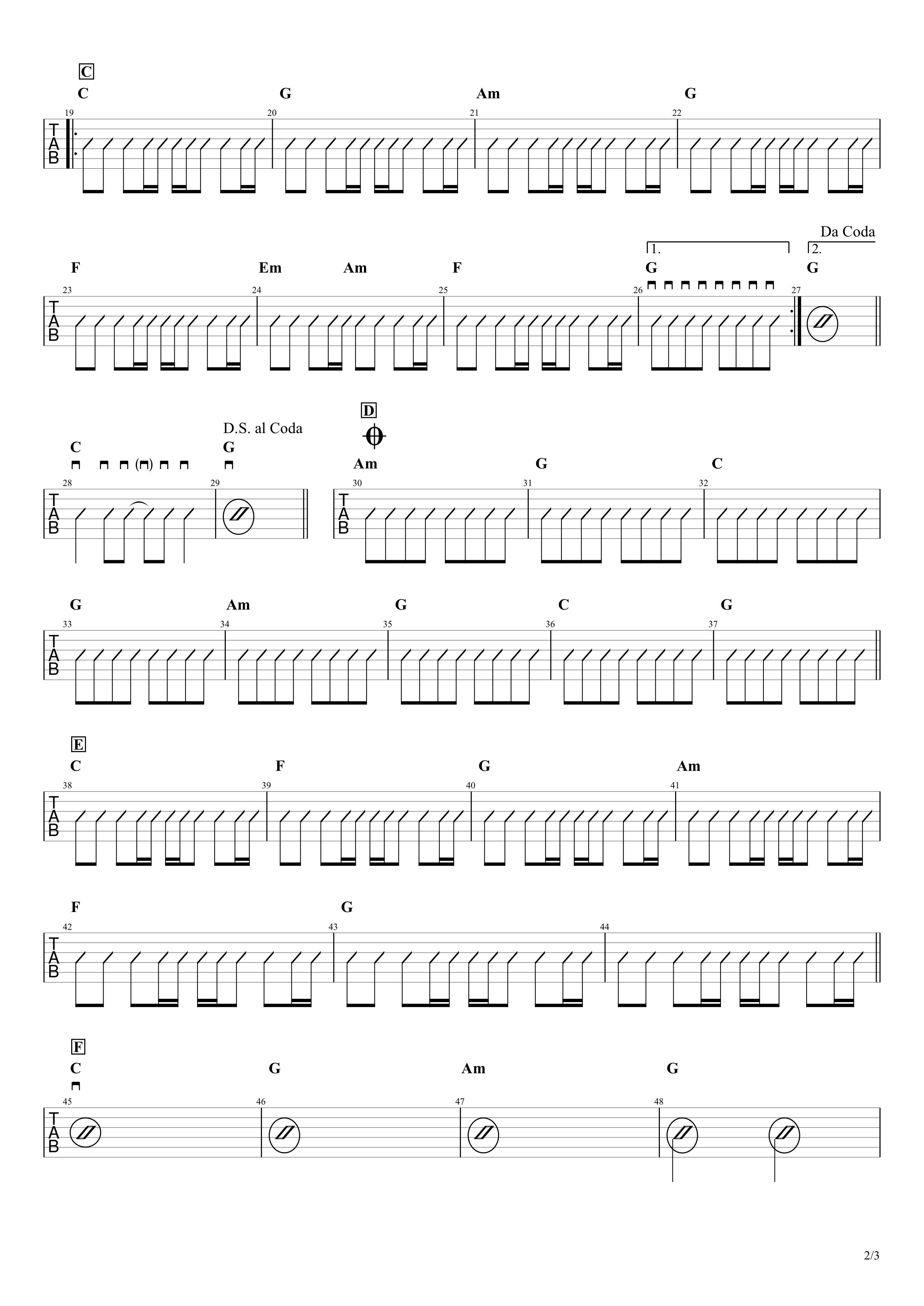 マリーゴールド/あいみょん 簡単ギターコードスコア02