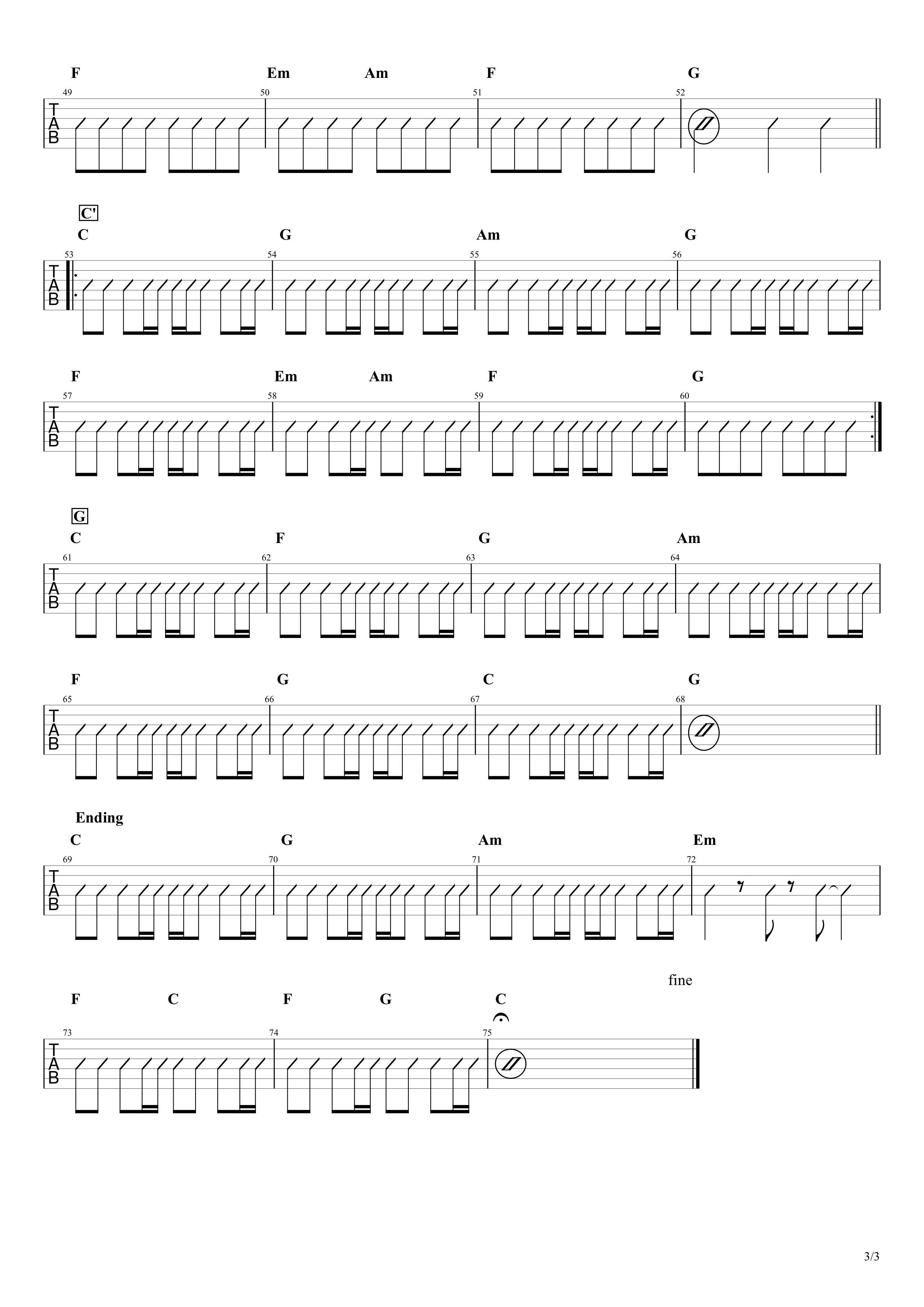 マリーゴールド/あいみょん 簡単ギターコードスコア03