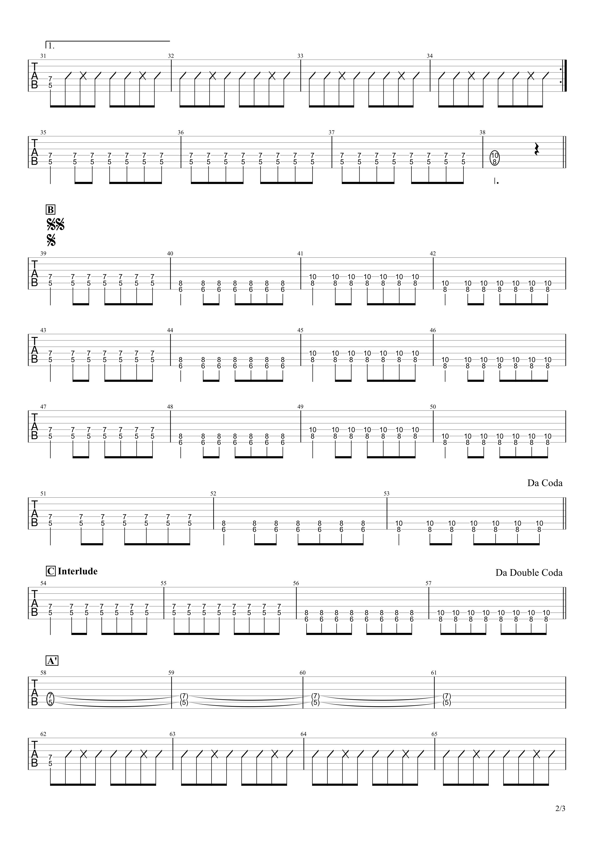 曇天/DOES ギタータブ譜スコア02