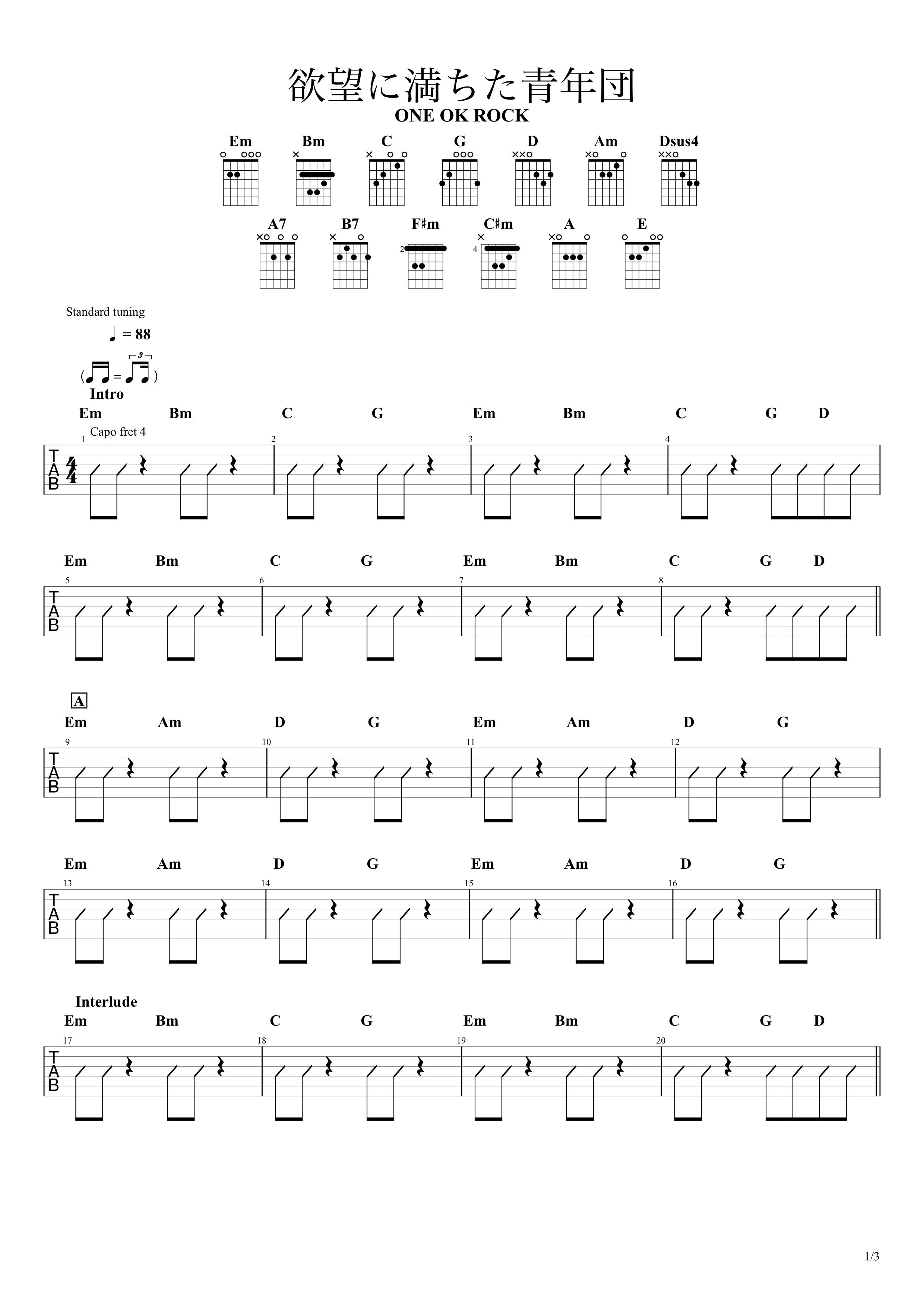 欲望に満ちた青年団/ONE OK ROCK ギターコード譜01
