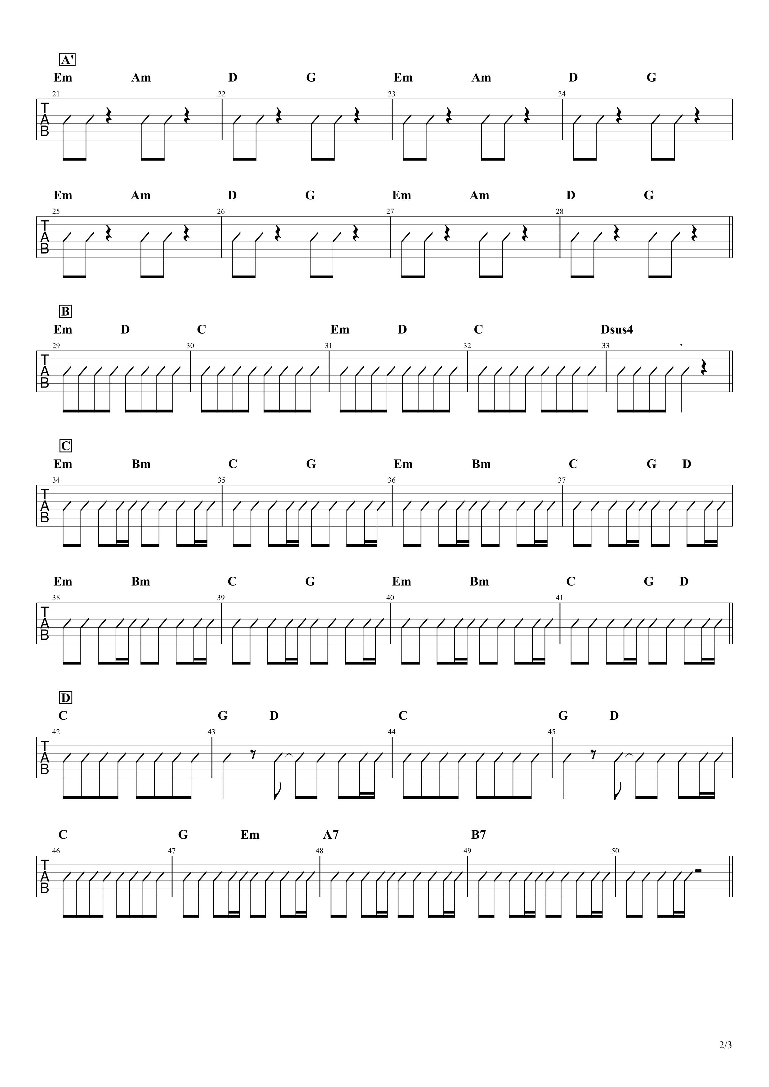欲望に満ちた青年団/ONE OK ROCK ギターコード譜02