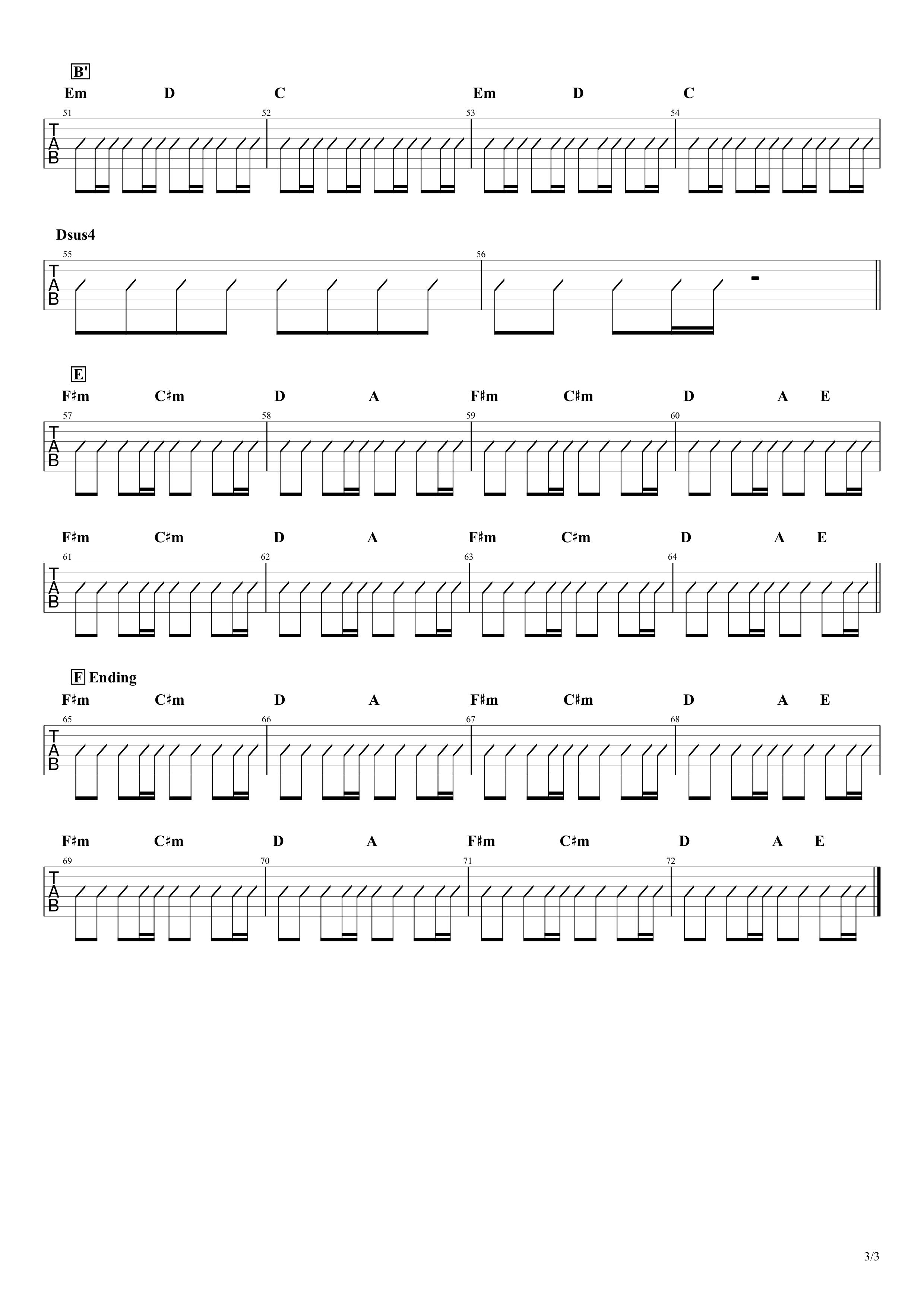 欲望に満ちた青年団/ONE OK ROCK ギターコード譜03
