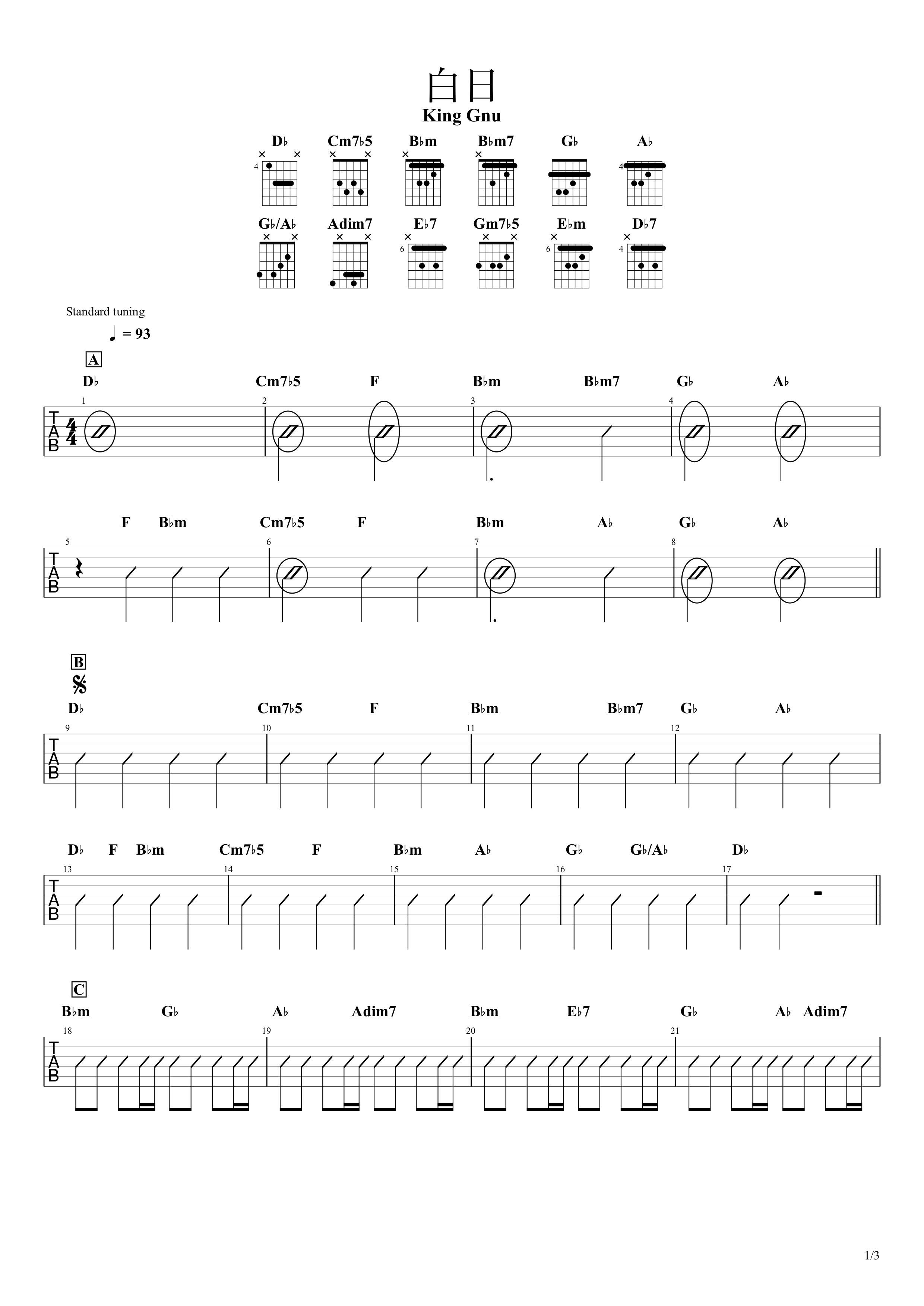 白日/King Gnu ギターコード譜01