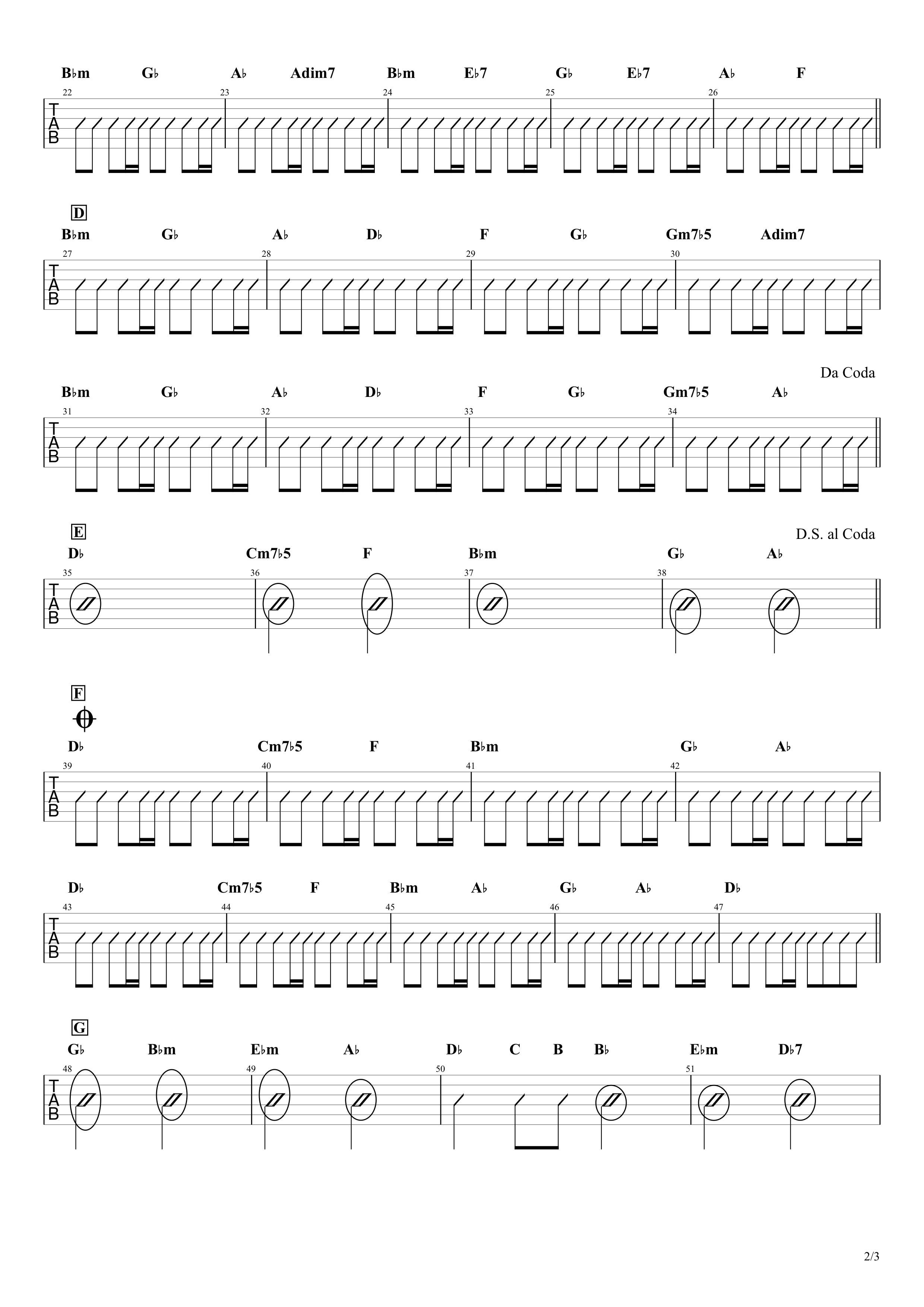 白日/King Gnu ギターコード譜02