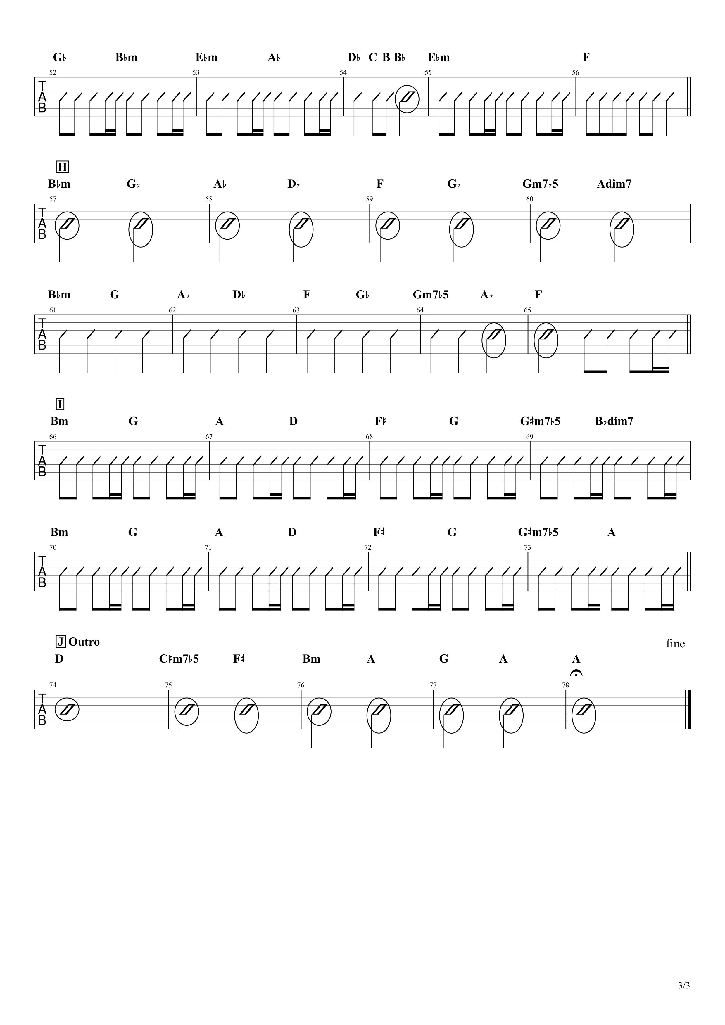 白日/King Gnu ギターコード譜03