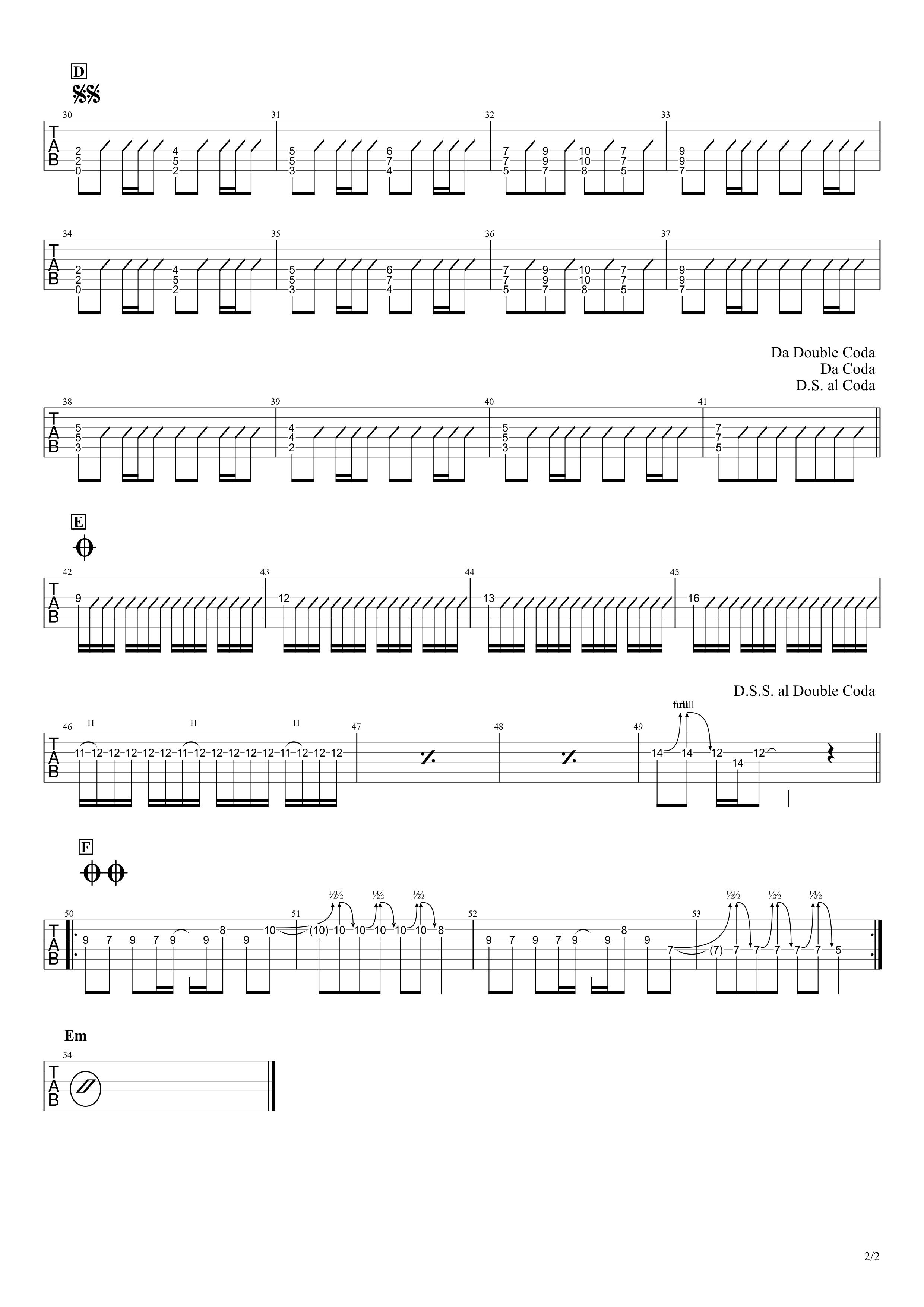 自律神経出張中/PEDRO ギタータブ譜スコア02