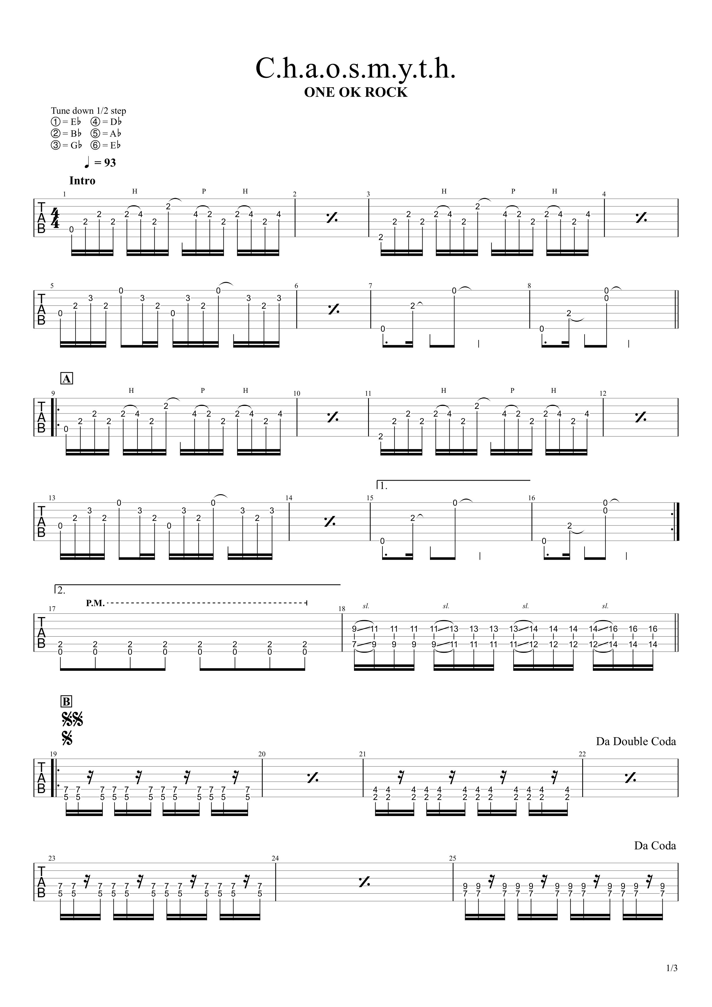 C.h.a.o.s.m.y.t.h/ONE OK ROCK ギタータブ譜スコア01