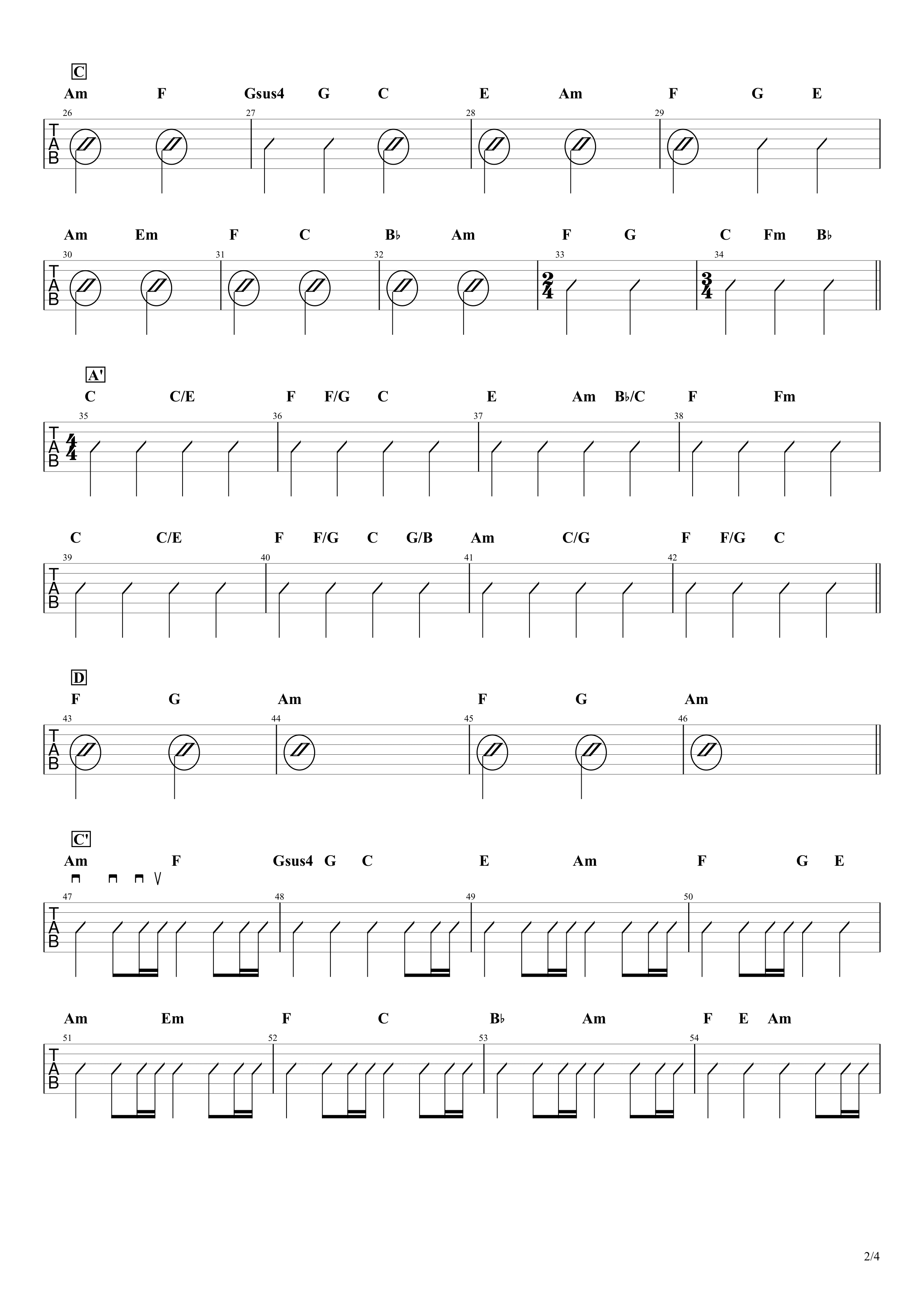 点描の唄(feat.井上苑子)/Mrs.GREEN APPLE ギターコード譜02