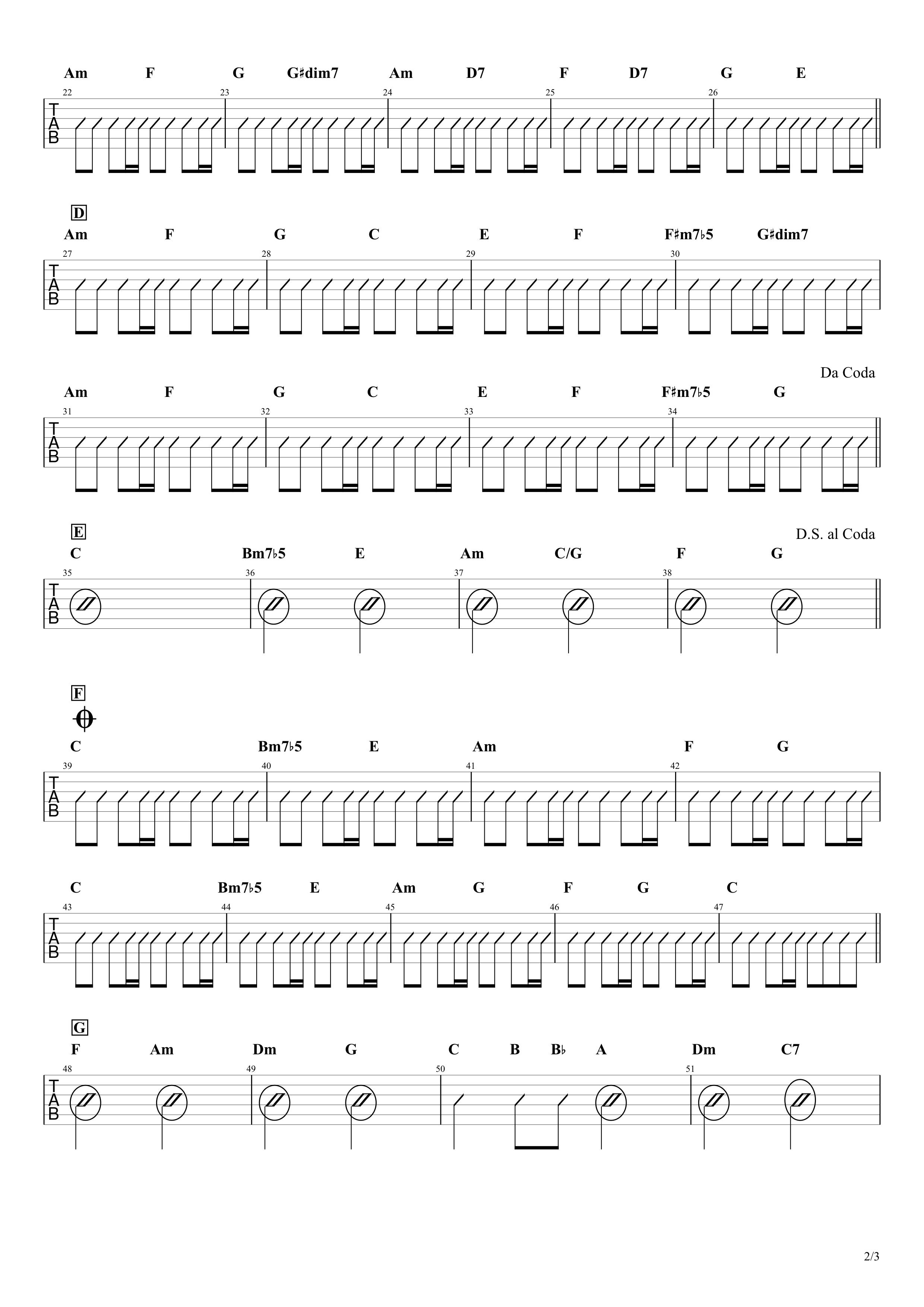 白日/King Gnu ギターコード譜【カポあり簡単Ver.】02