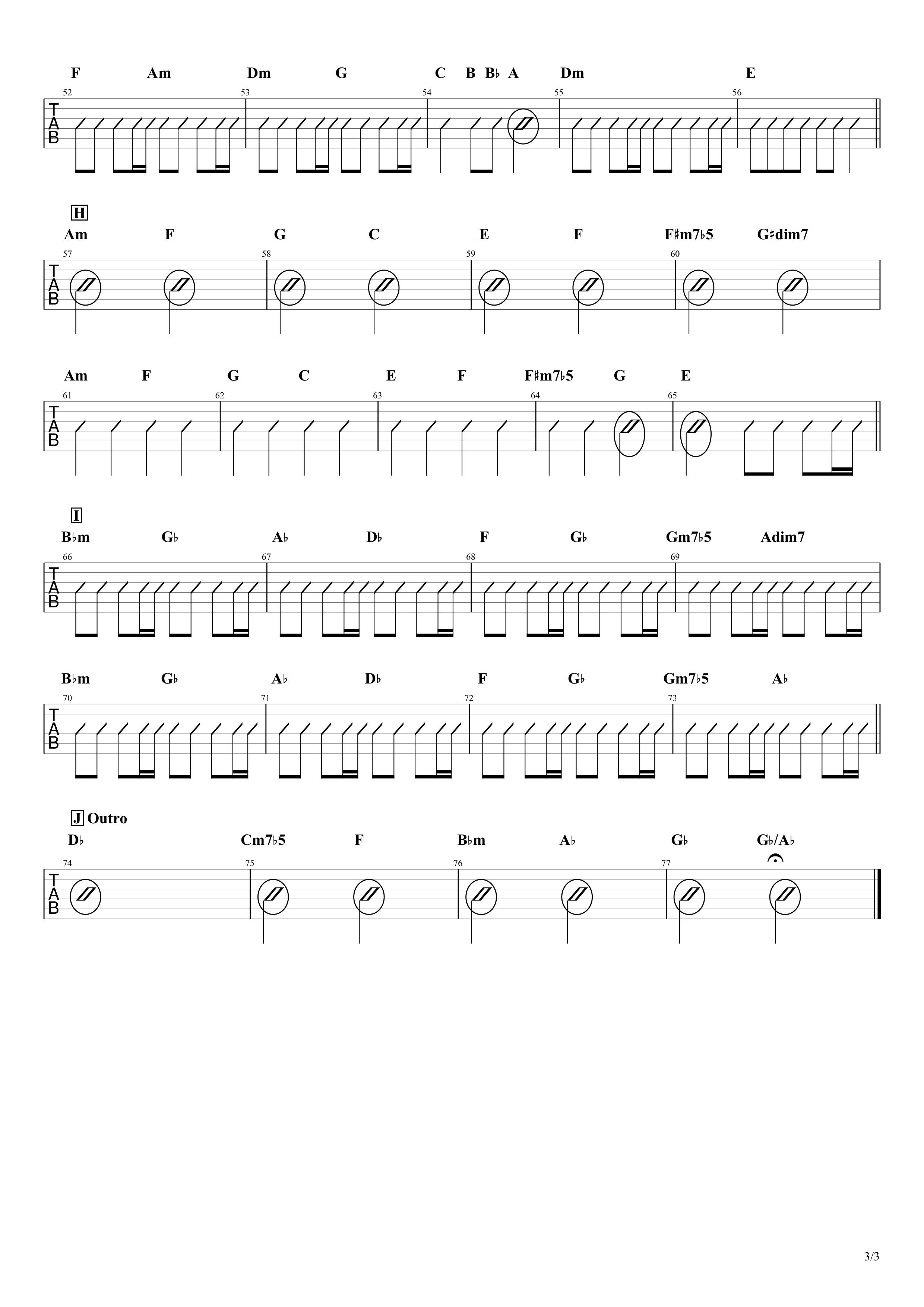 白日/King Gnu ギターコード譜【カポあり簡単Ver.】03