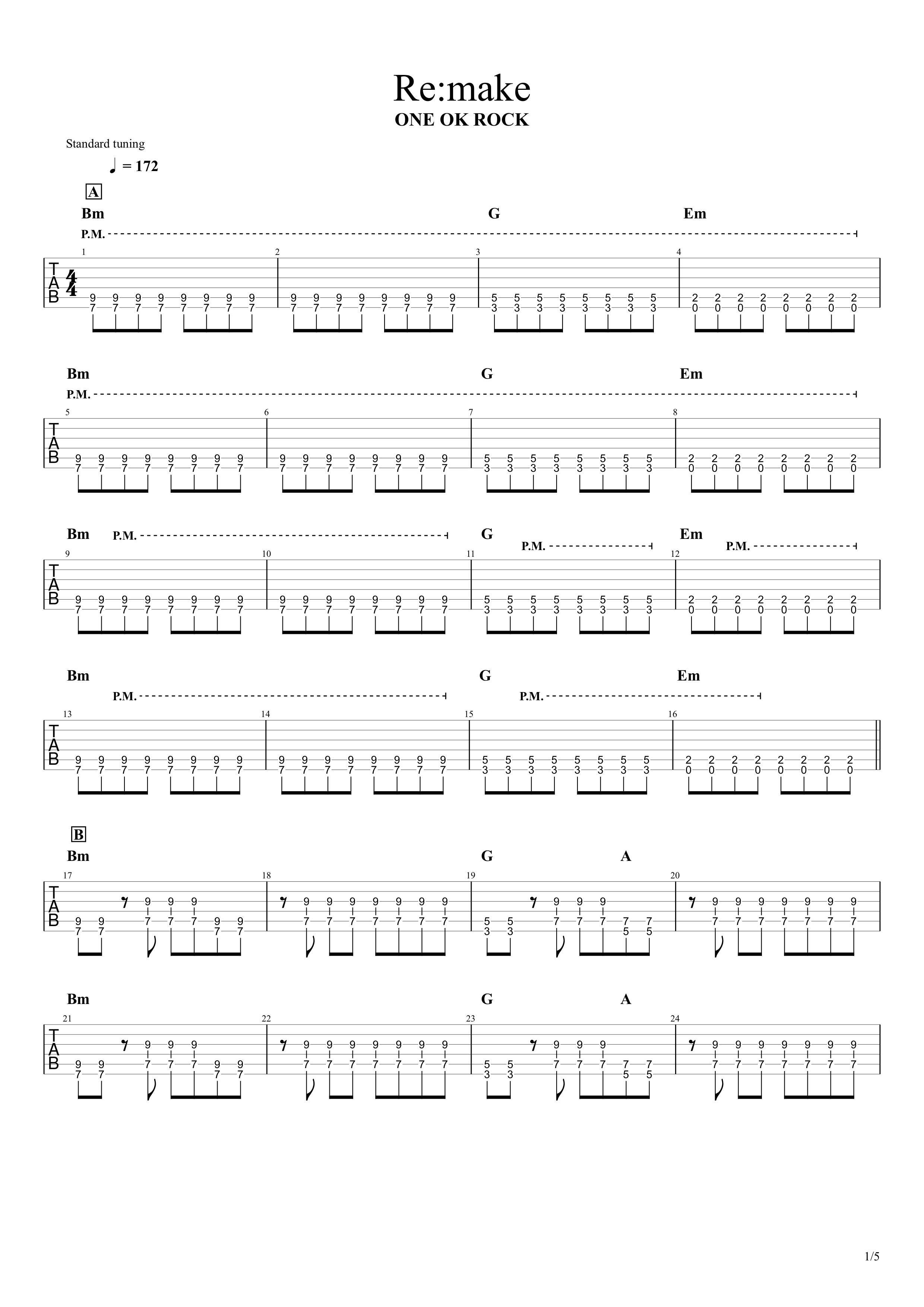 Re:make/ONE OK ROCK ギターTAB譜スコア01