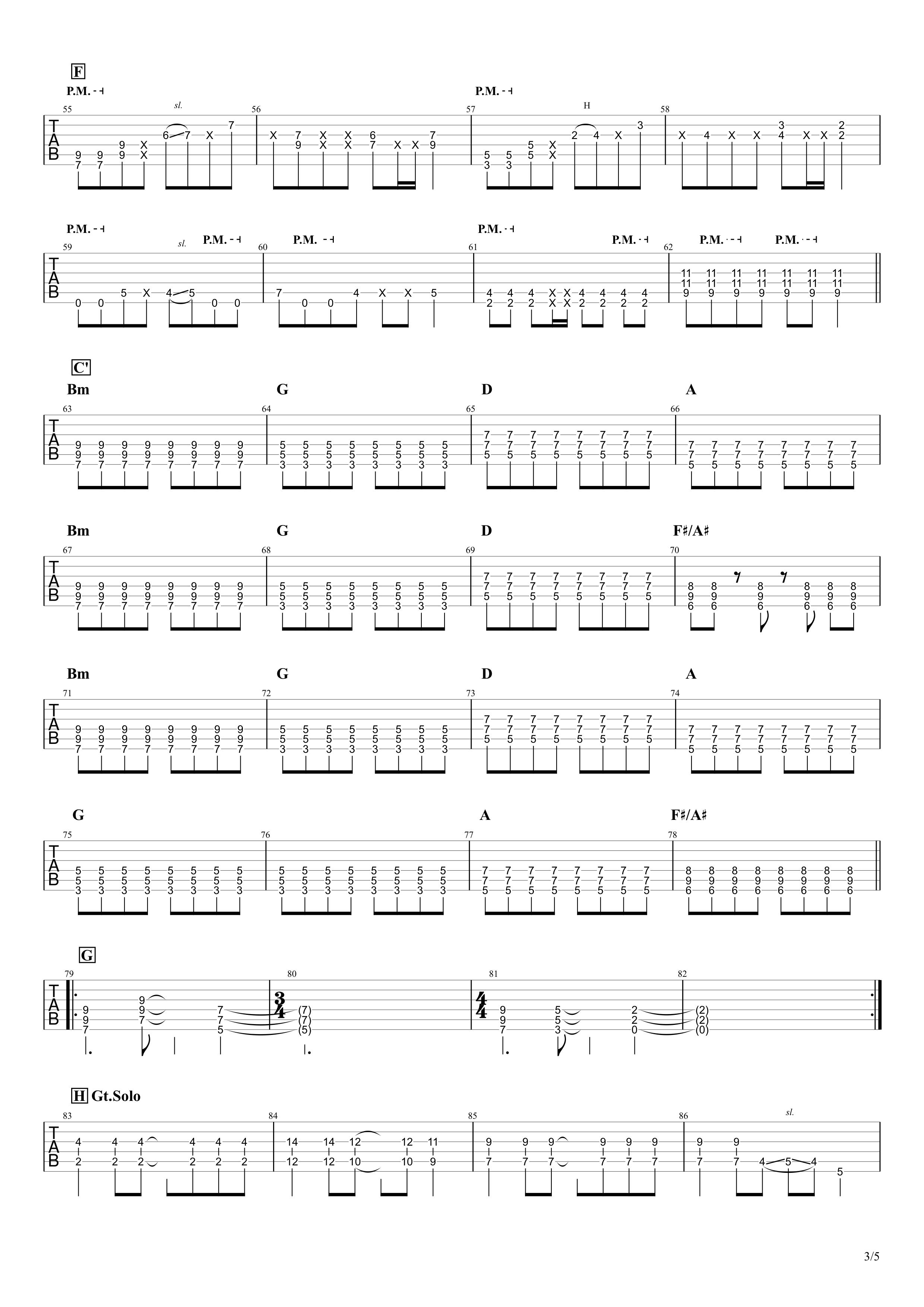 Re:make/ONE OK ROCK ギターTAB譜スコア03
