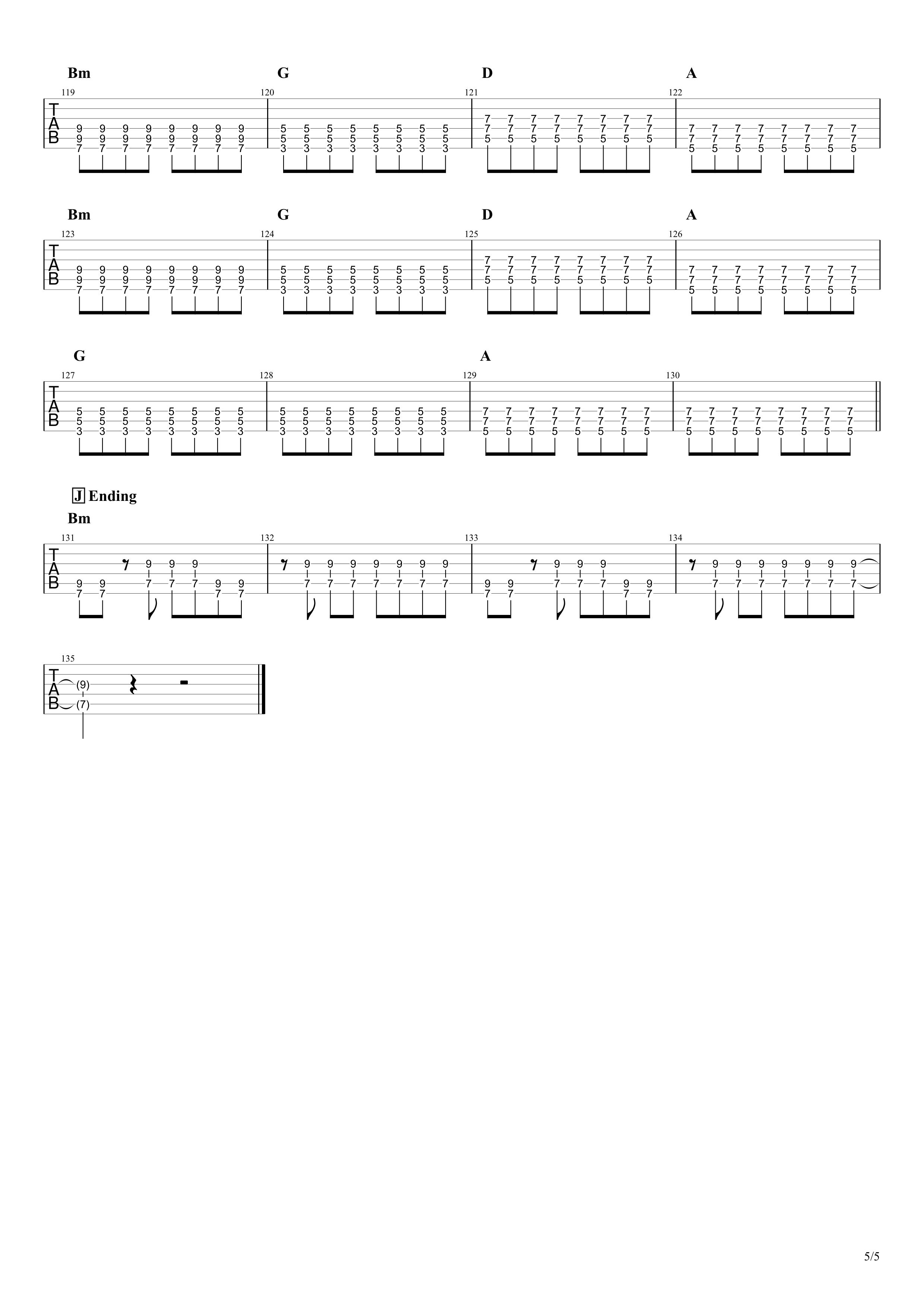 Re:make/ONE OK ROCK ギターTAB譜スコア05