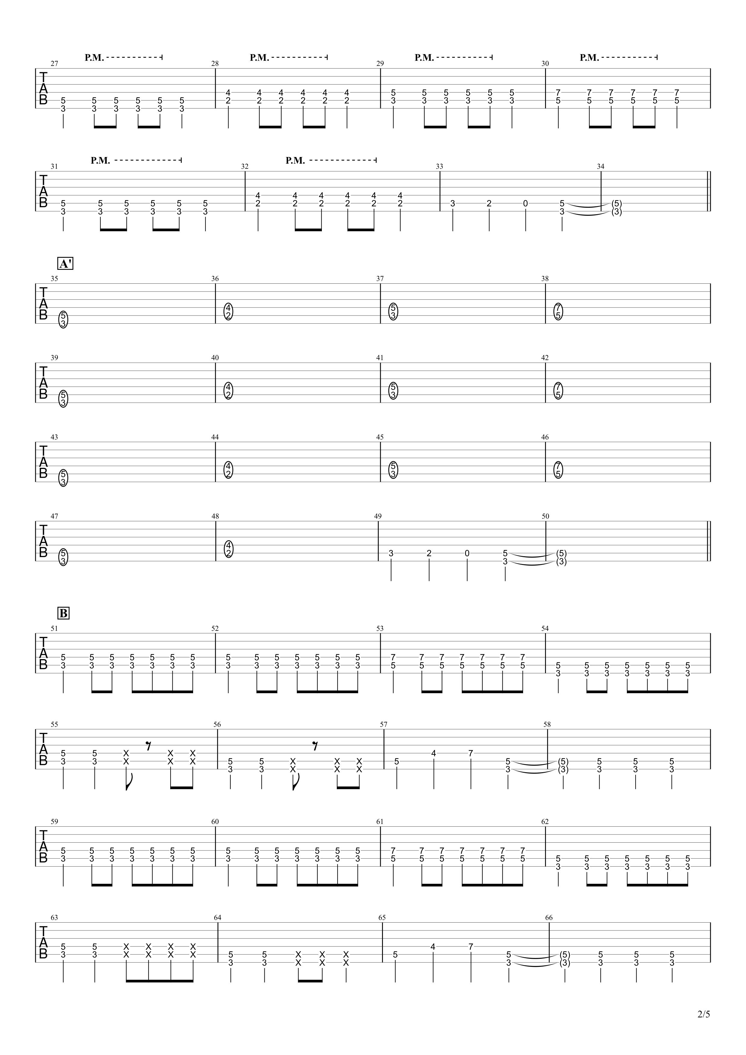 あなたに/MONGOL800 ギタータブ譜02