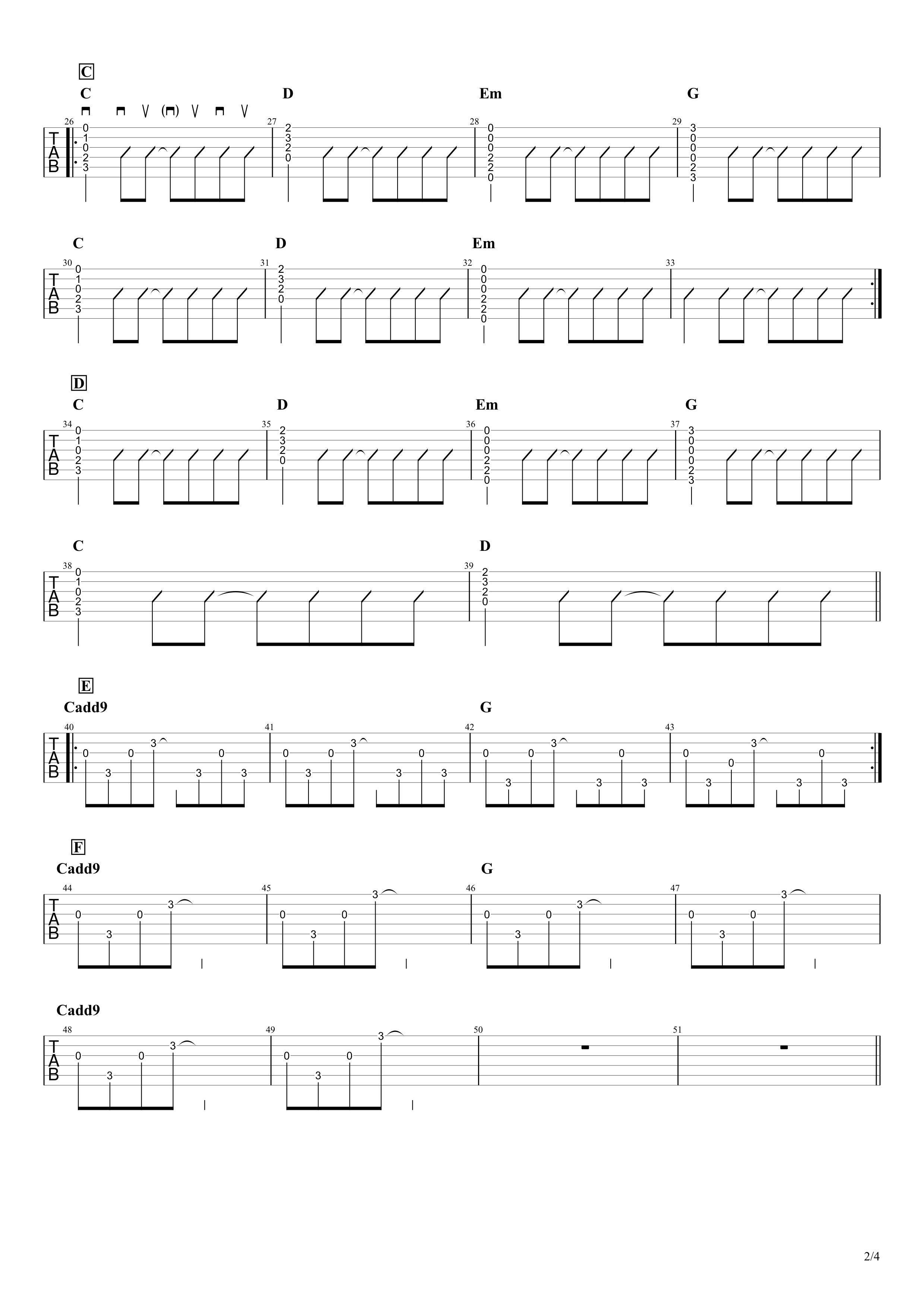 ヒカリへ/miwa ギタータブ&コード譜02