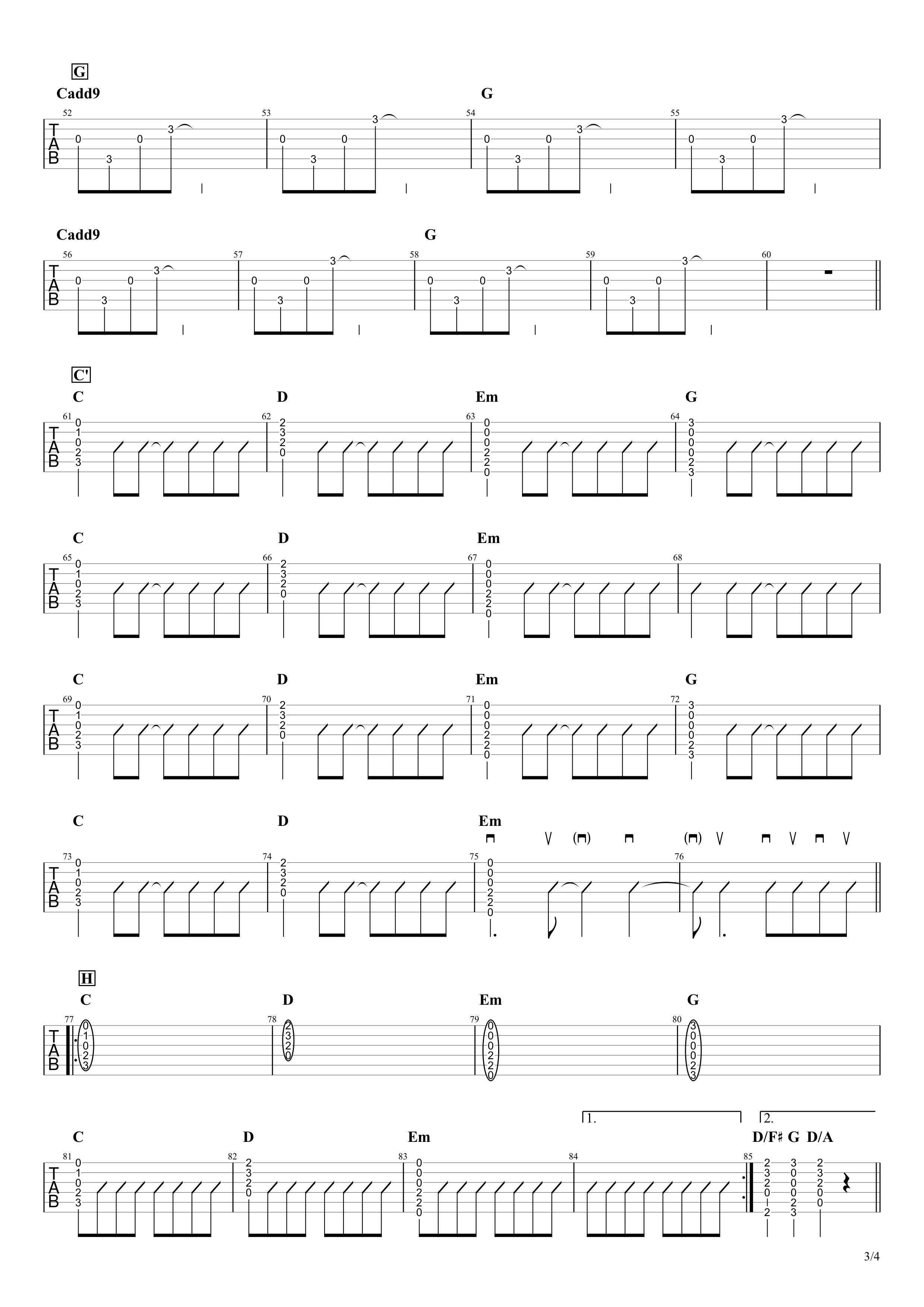 ヒカリへ/miwa ギタータブ&コード譜03