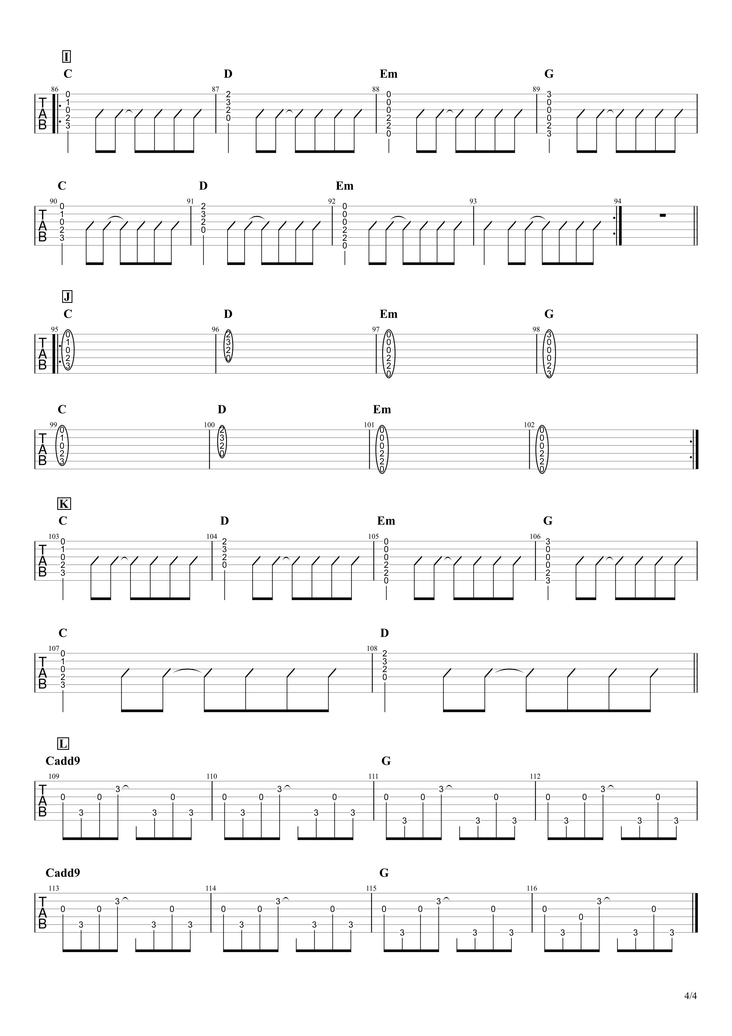 ヒカリへ/miwa ギタータブ&コード譜04