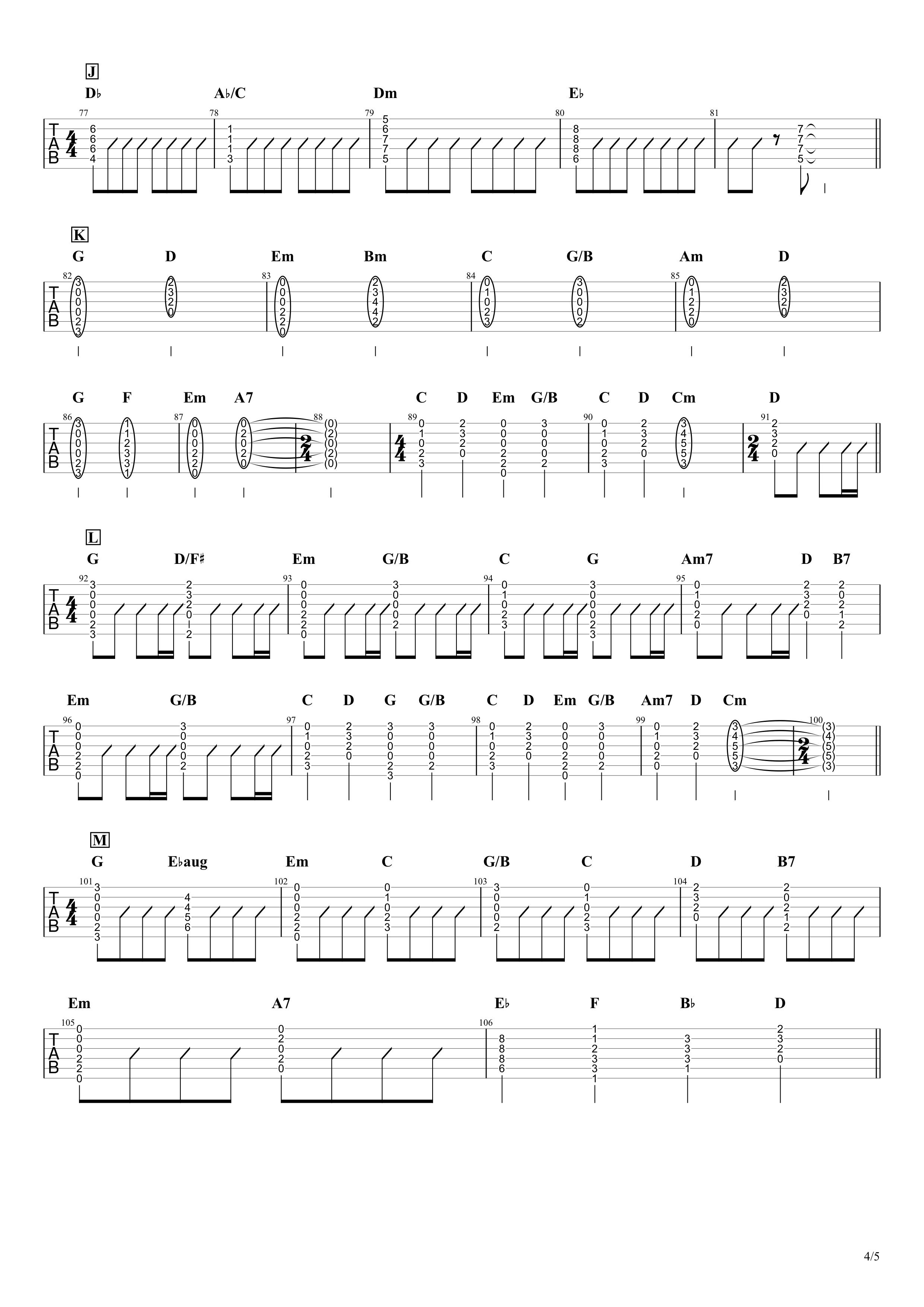 僕のこと/Mrs. GREEN APPLE ギタータブ&コード譜04