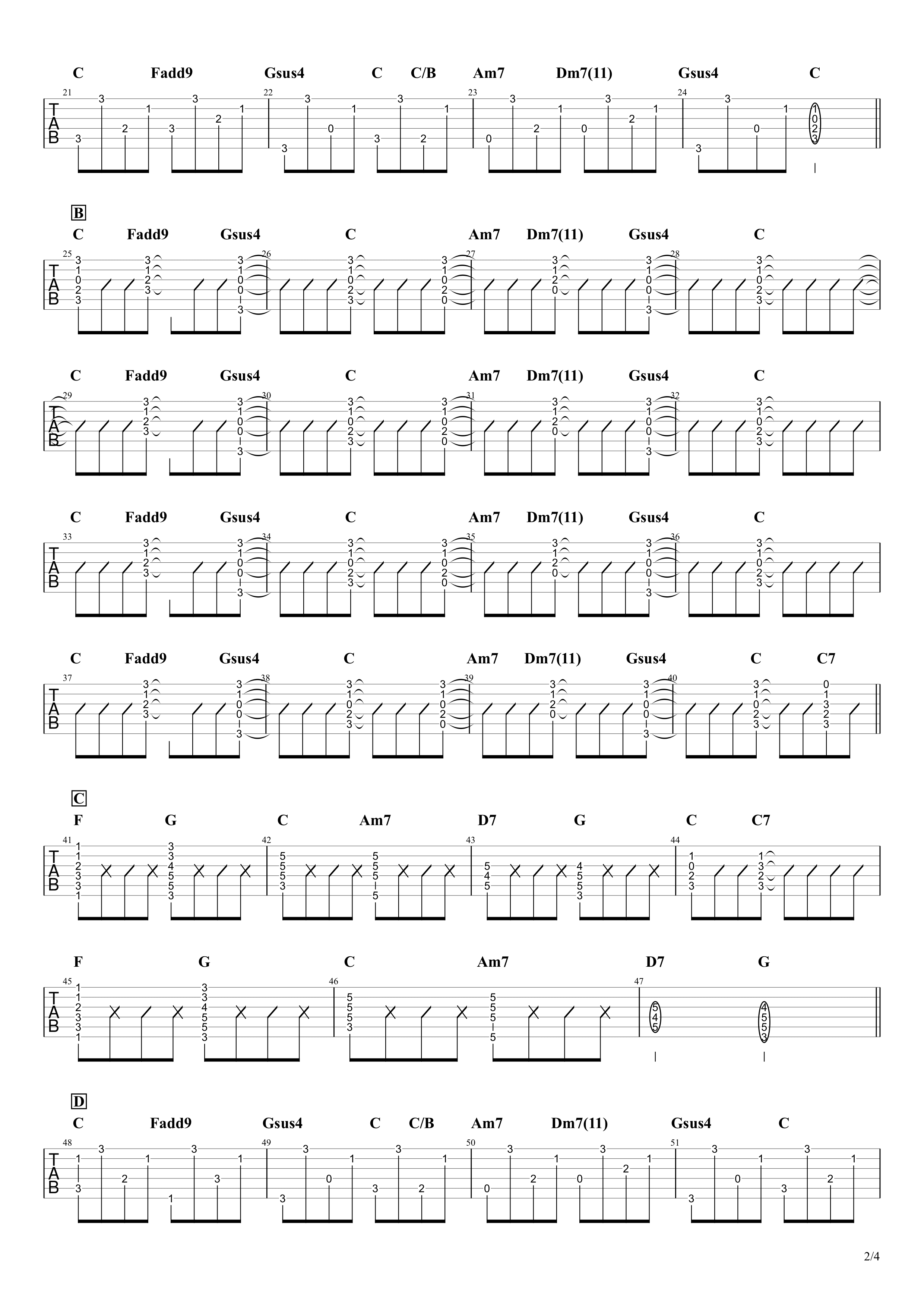 同じ話/ハンバート ハンバート ギタータブ譜02