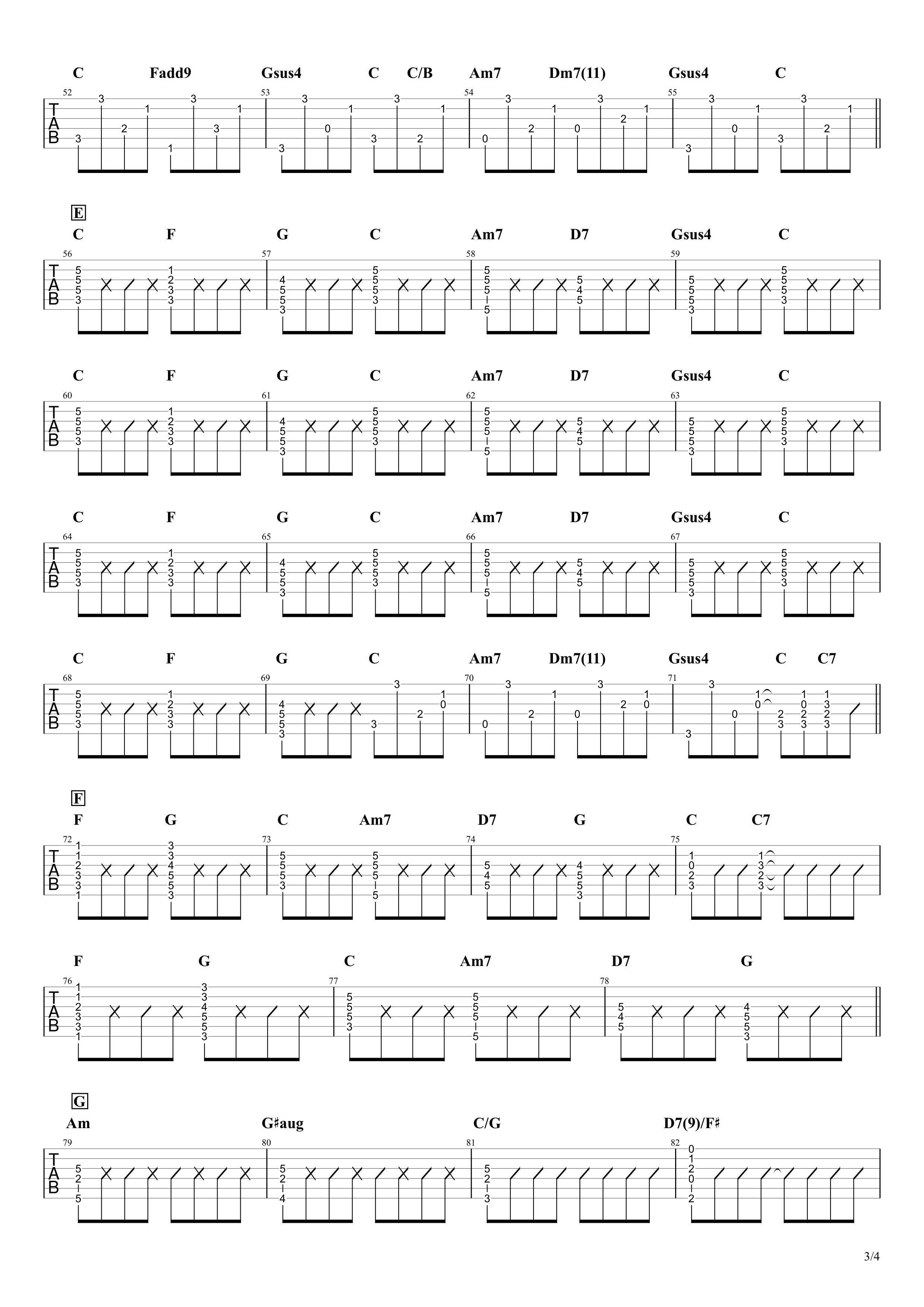 同じ話/ハンバート ハンバート ギタータブ譜03