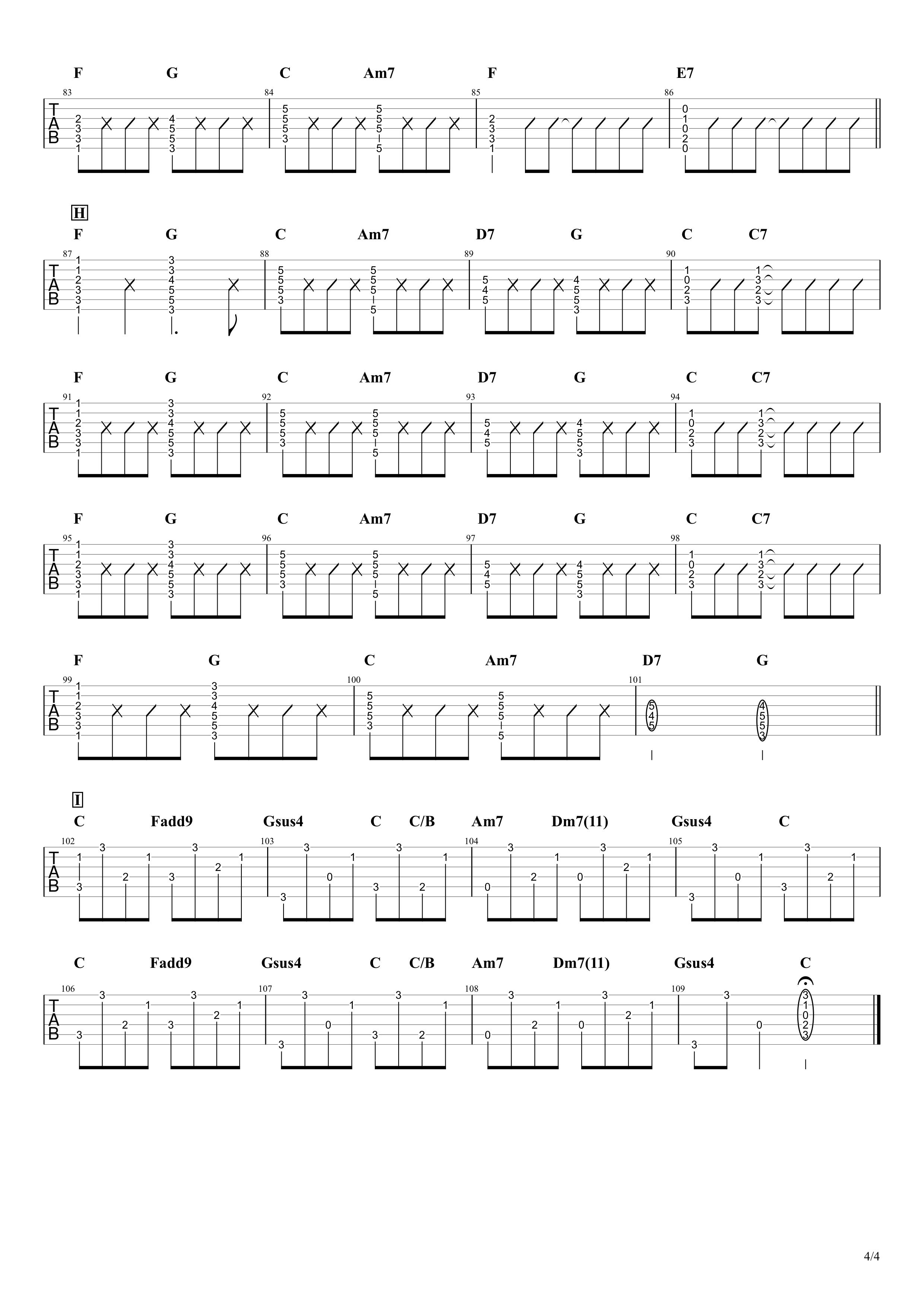 同じ話/ハンバート ハンバート ギタータブ譜04