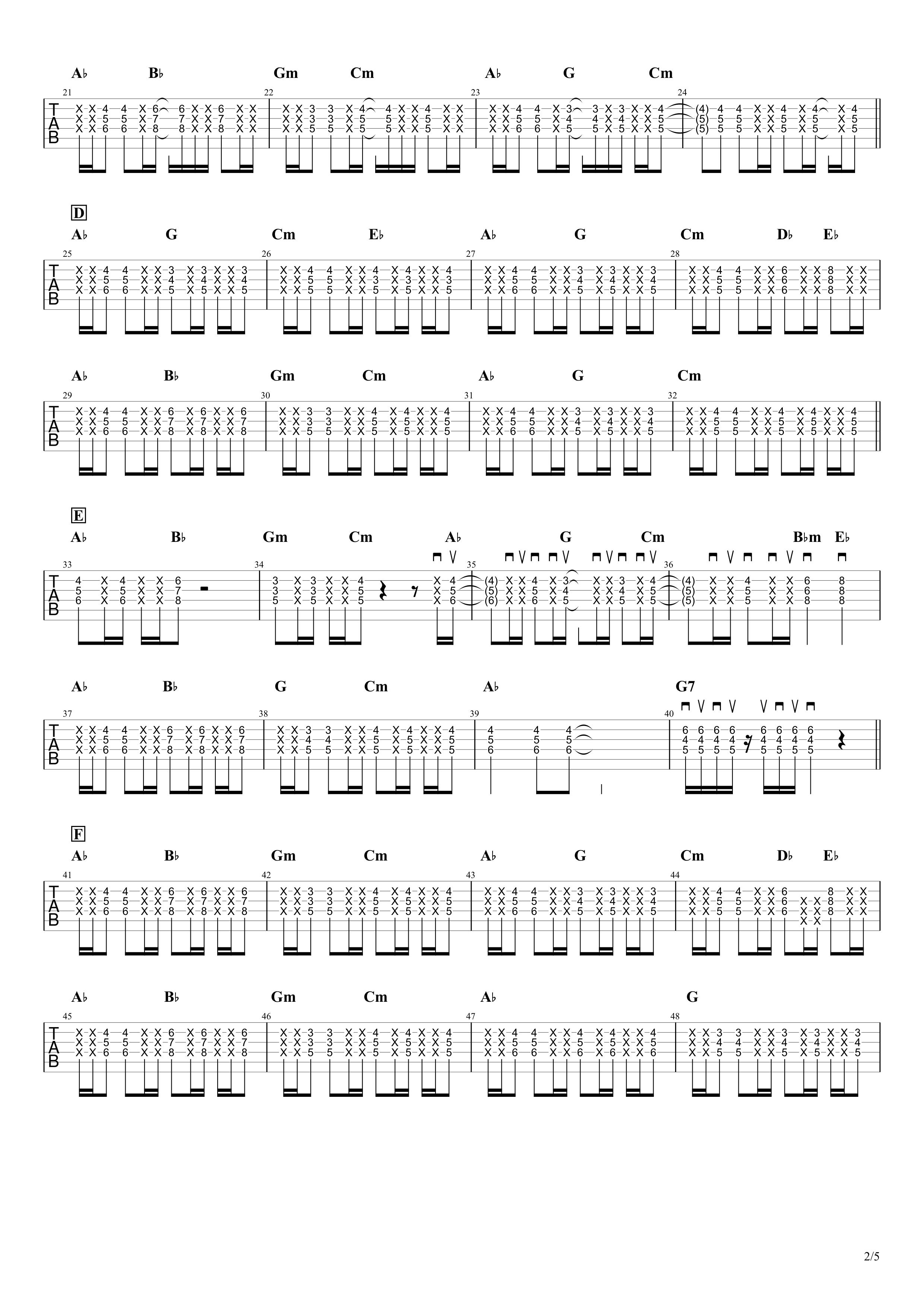 夜を駆ける/YOASOBI ギタータブ譜02