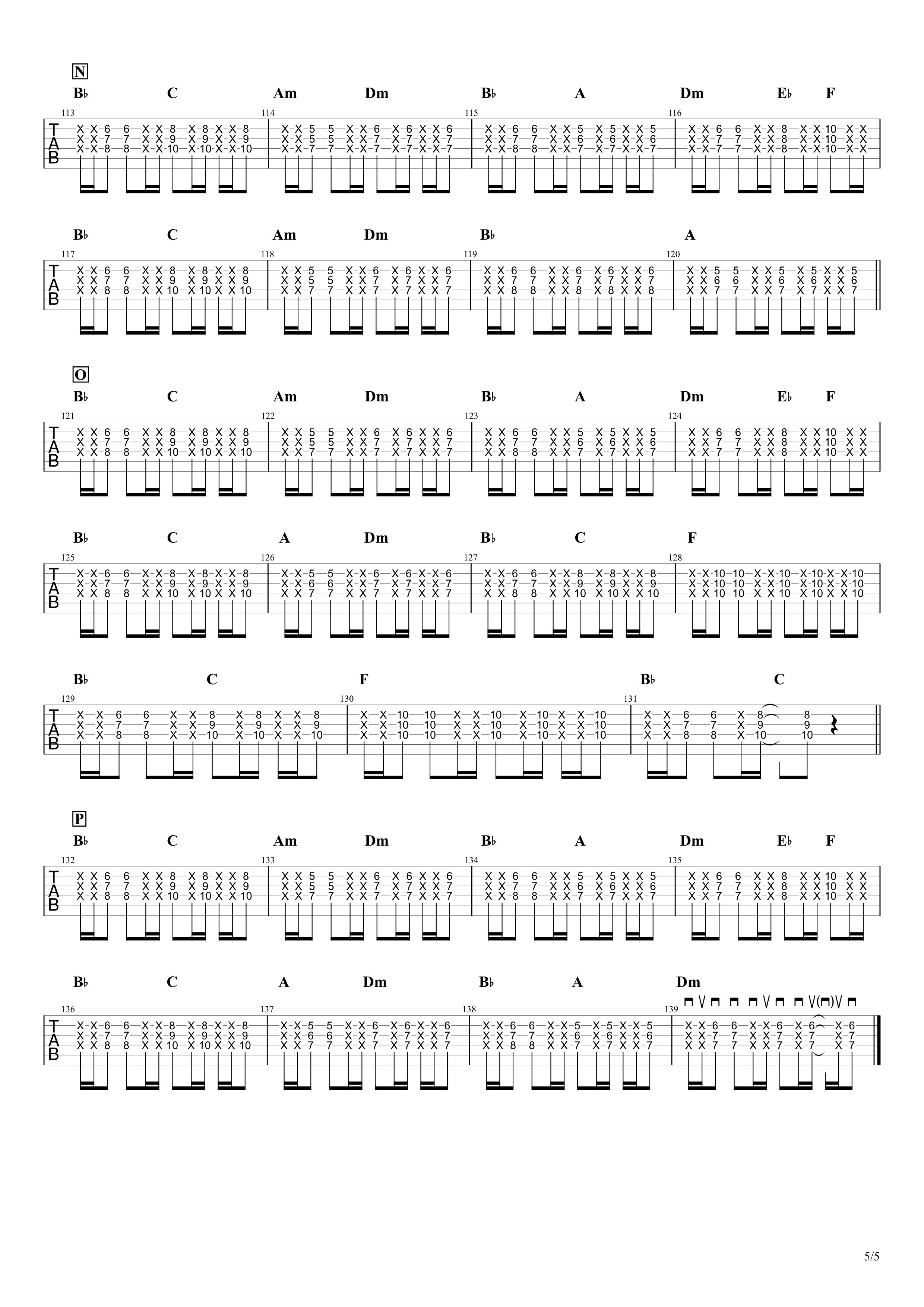 夜に駆ける/YOASOBI ギタータブ譜05