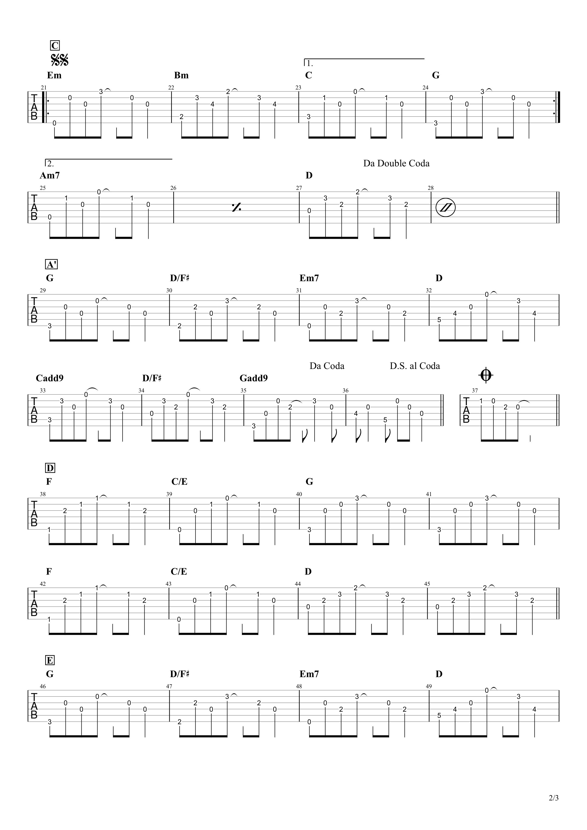 桜坂/福山雅治 ギタータブ譜 アルペジオざっくり再現アレンジVer.02