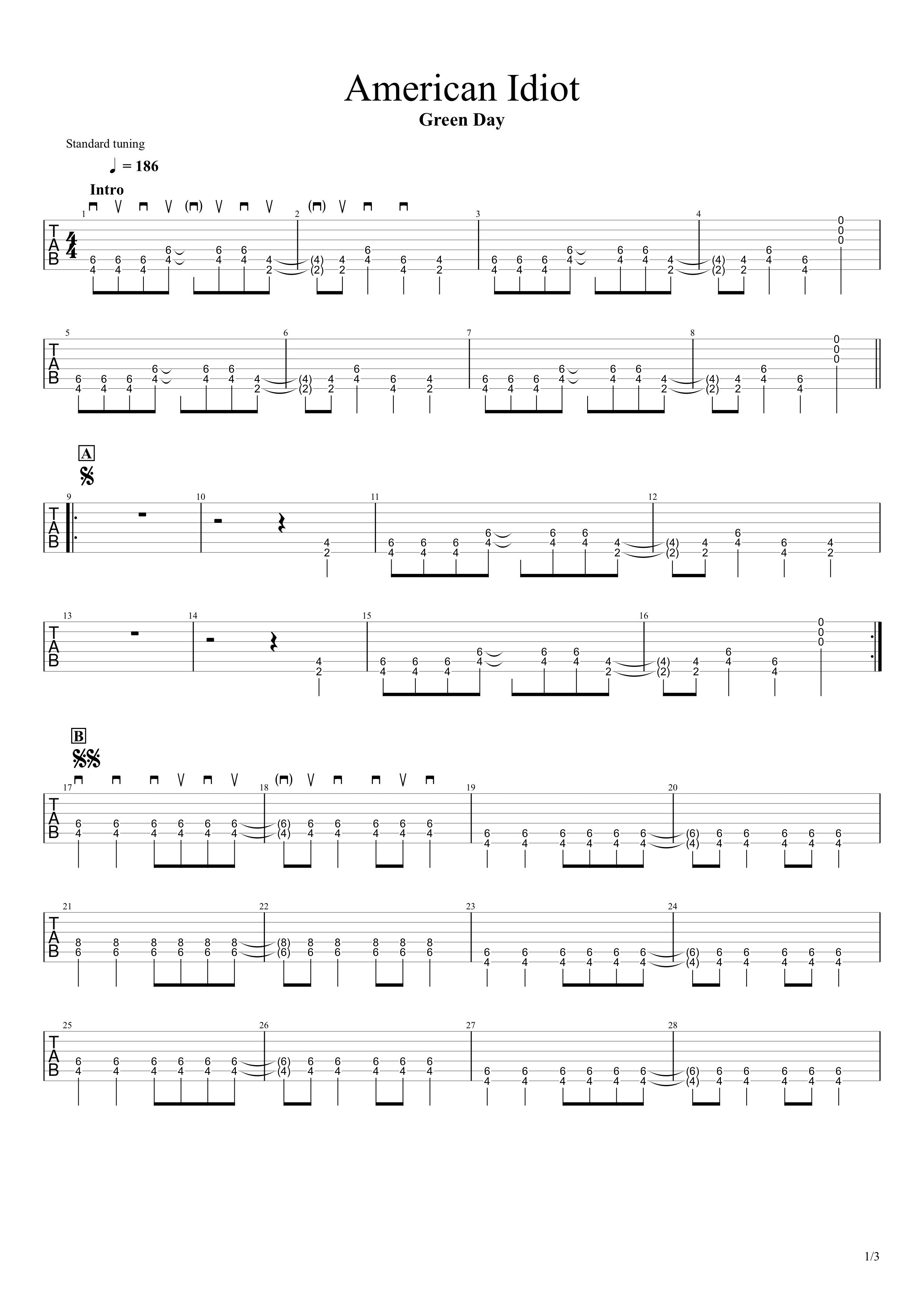 American Idiot/Green Day ギターtab譜01