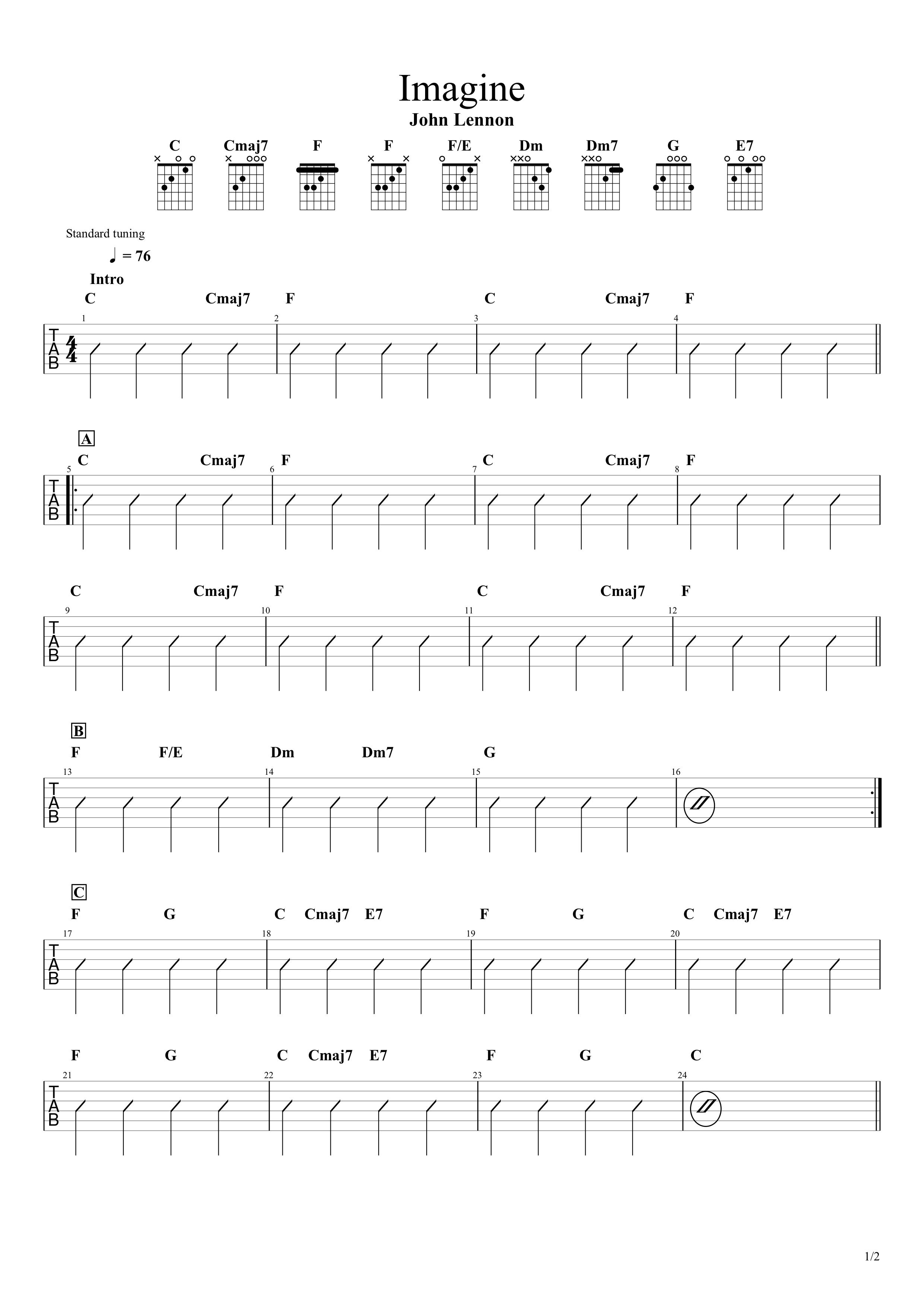 Imagine/John Lennon ギターコード&ストロークタブ譜01