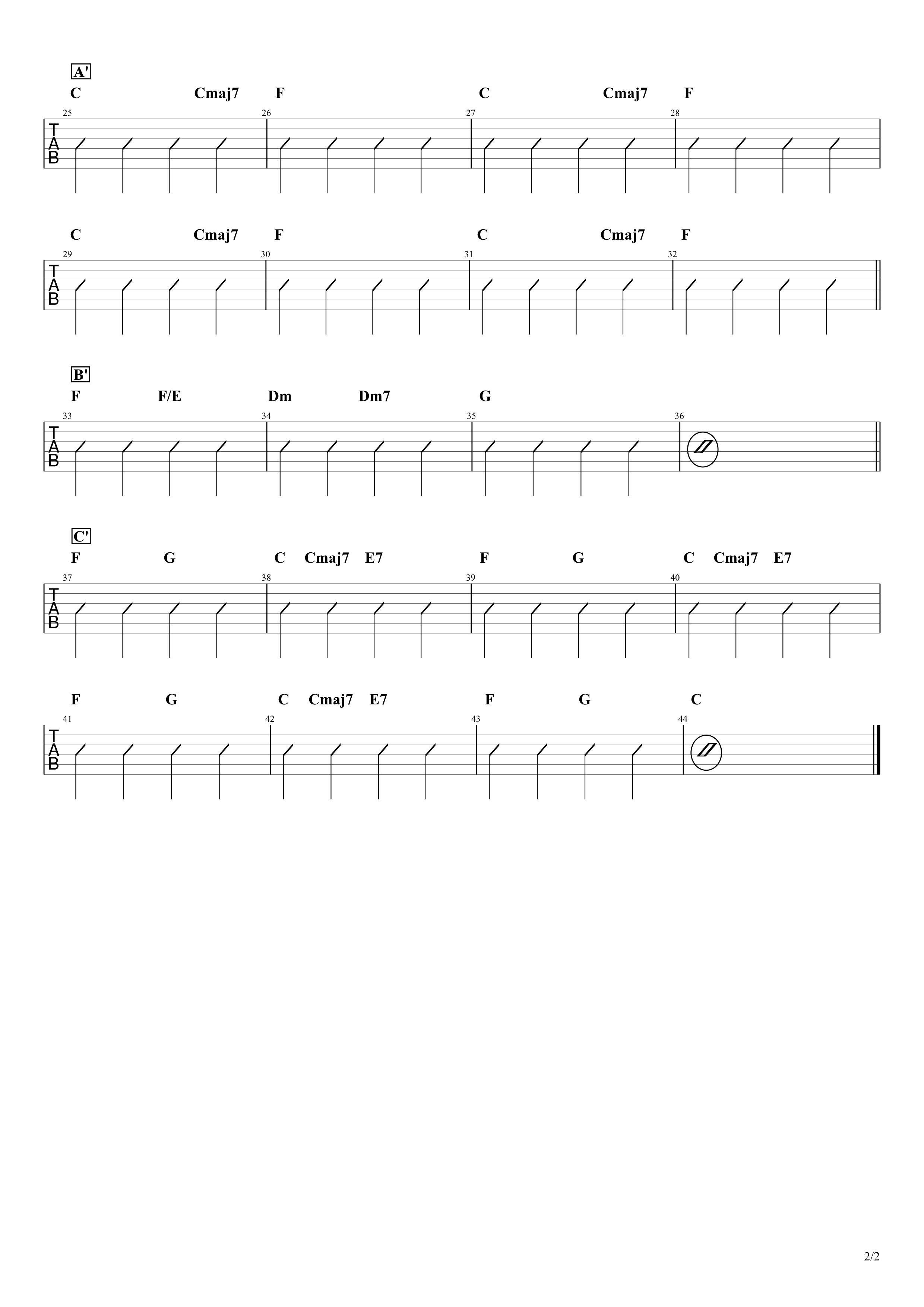 Imagine/John Lennon ギターコード&ストロークタブ譜02
