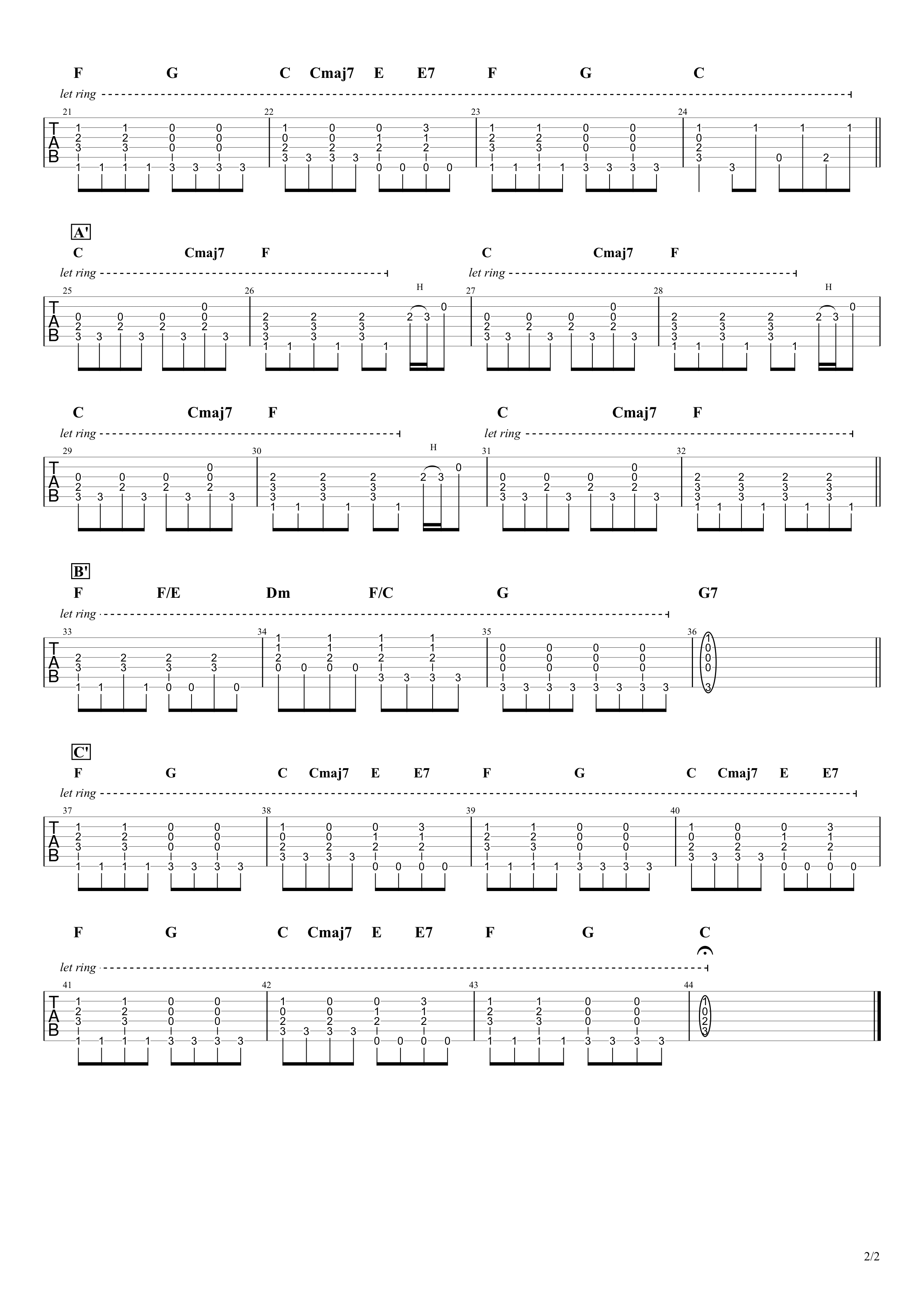 Imagine/John Lennon ギタータブ譜02