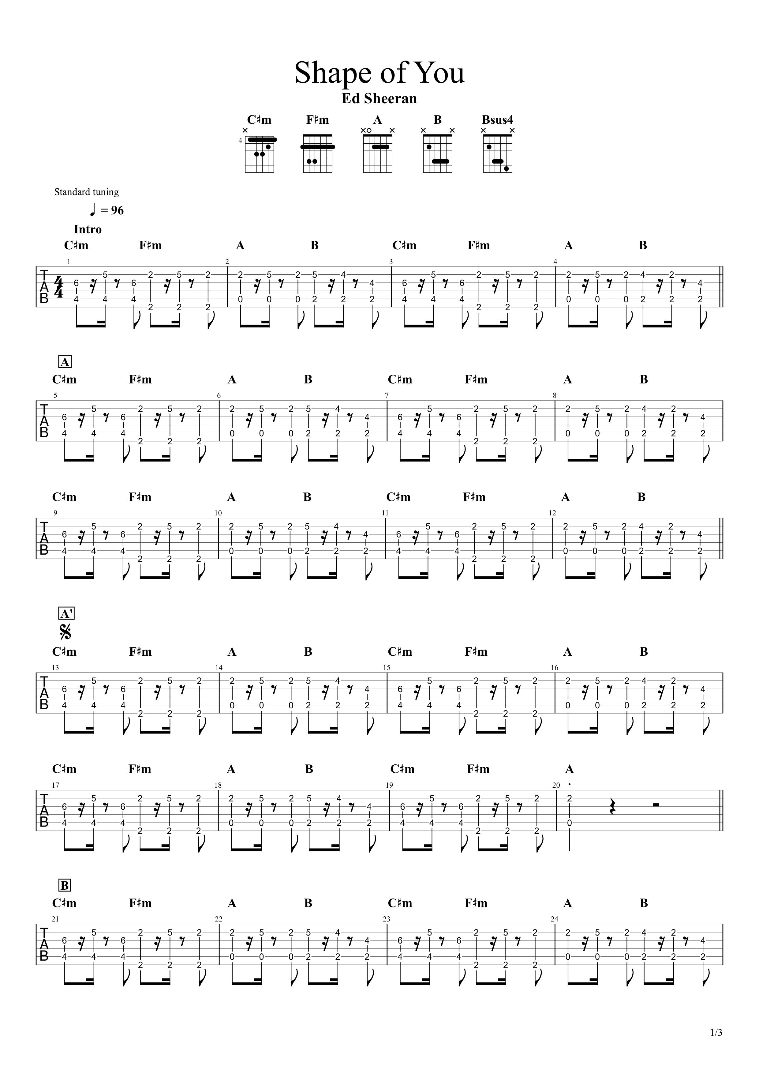 Shape of You/Ed Sheeran ギターTAB譜01