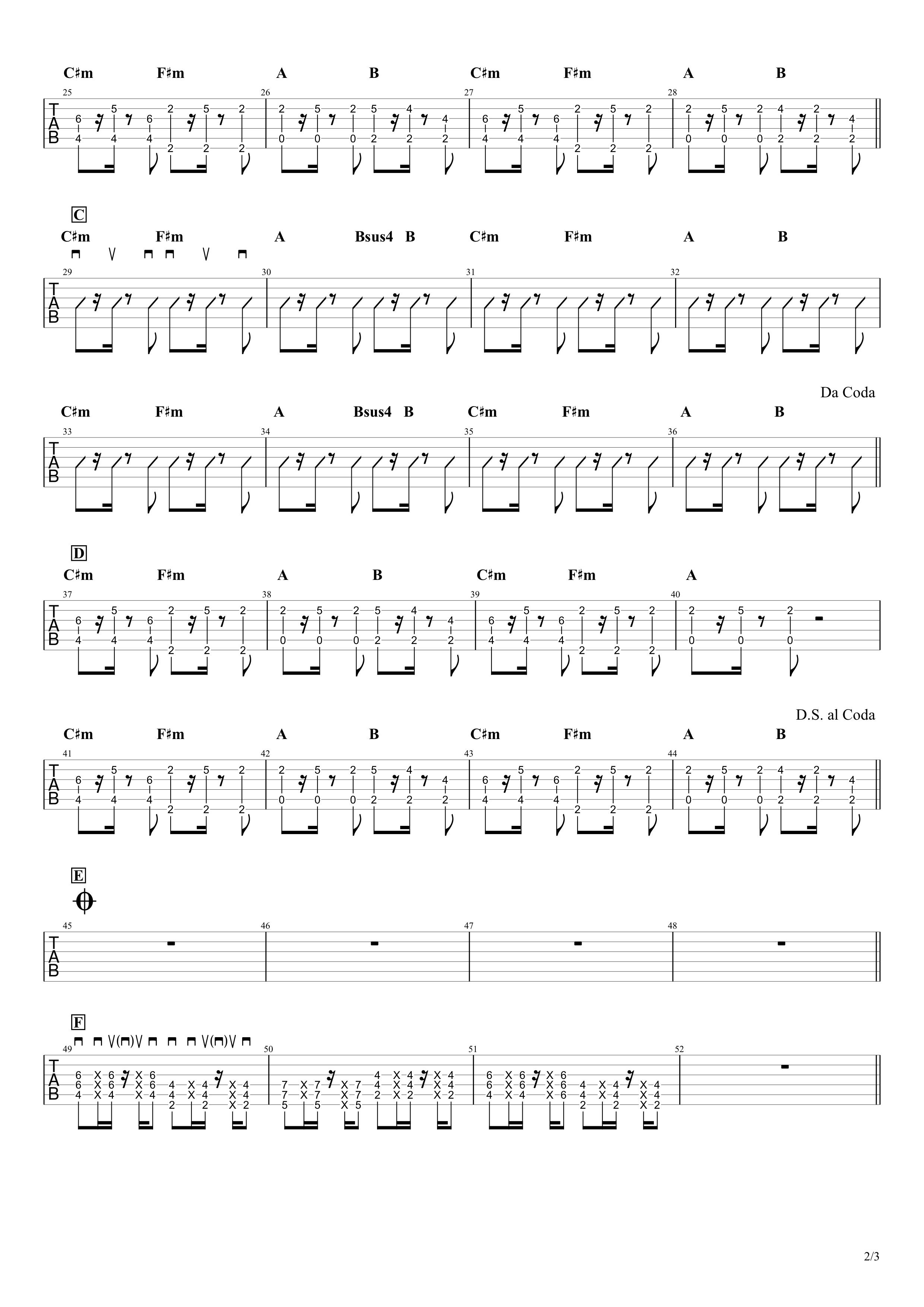 Shape of You/Ed Sheeran ギターTAB譜02