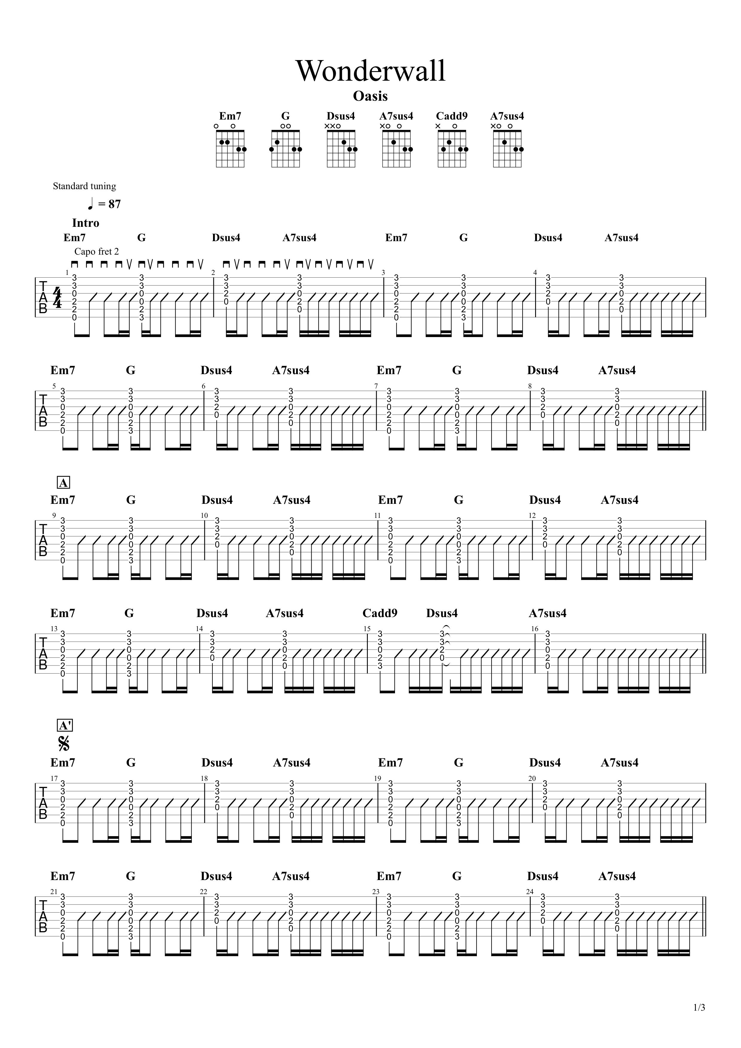 Wonderwall/Oasis ギタータブ譜01