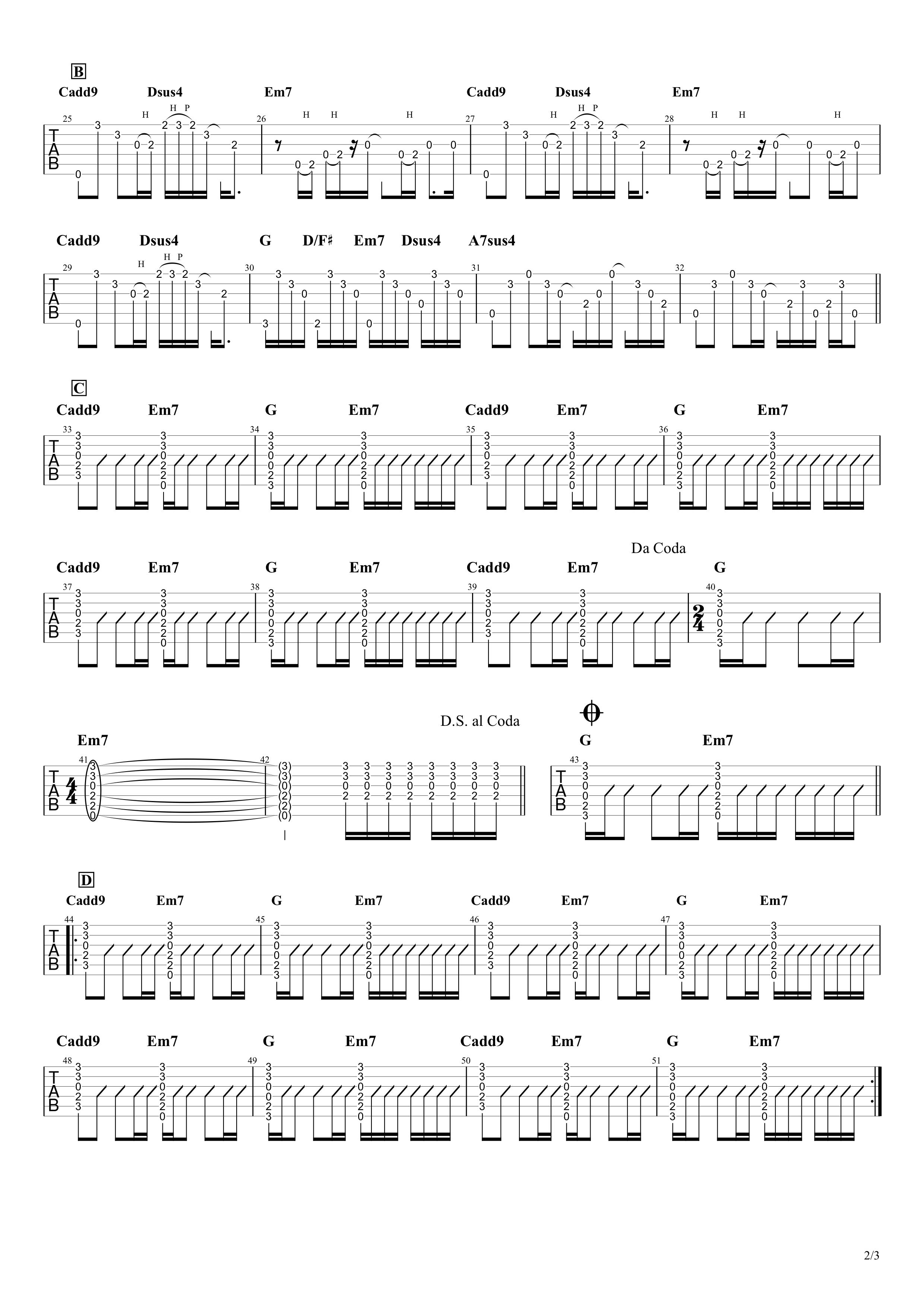 Wonderwall/Oasis ギタータブ譜02