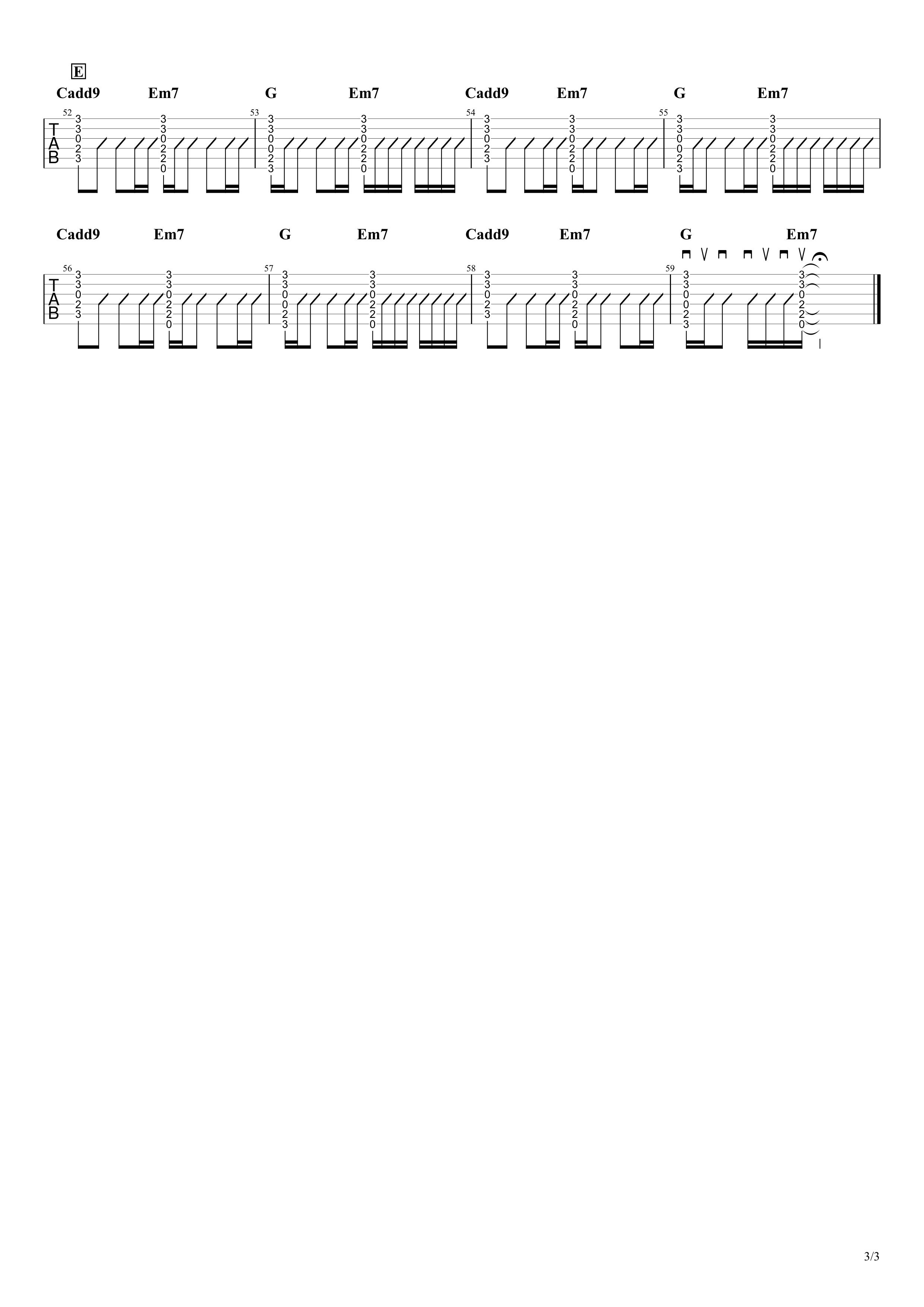 Wonderwall/Oasis ギタータブ譜03