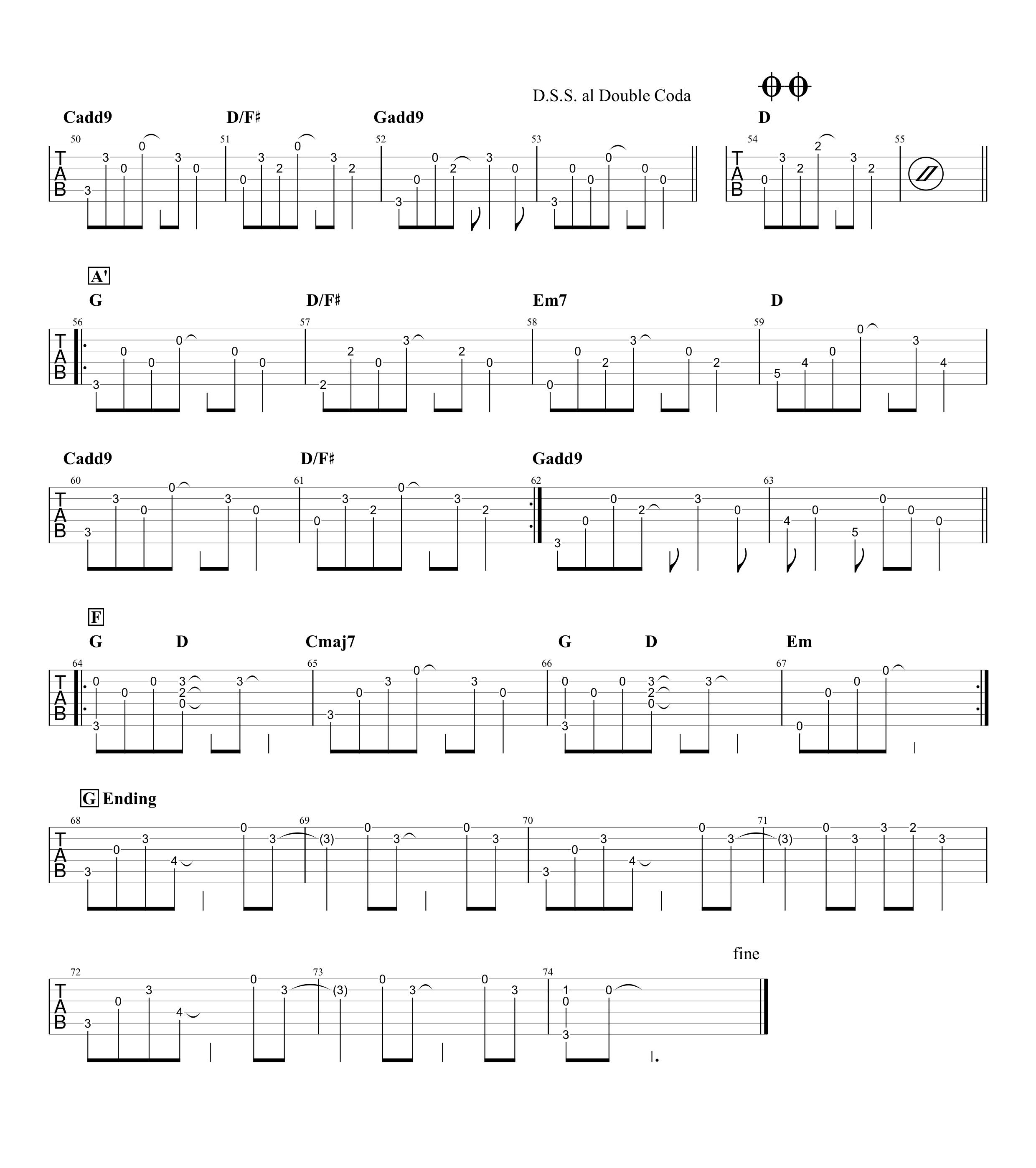 桜坂/福山雅治 ギタータブ譜 アルペジオざっくり再現アレンジVer.03