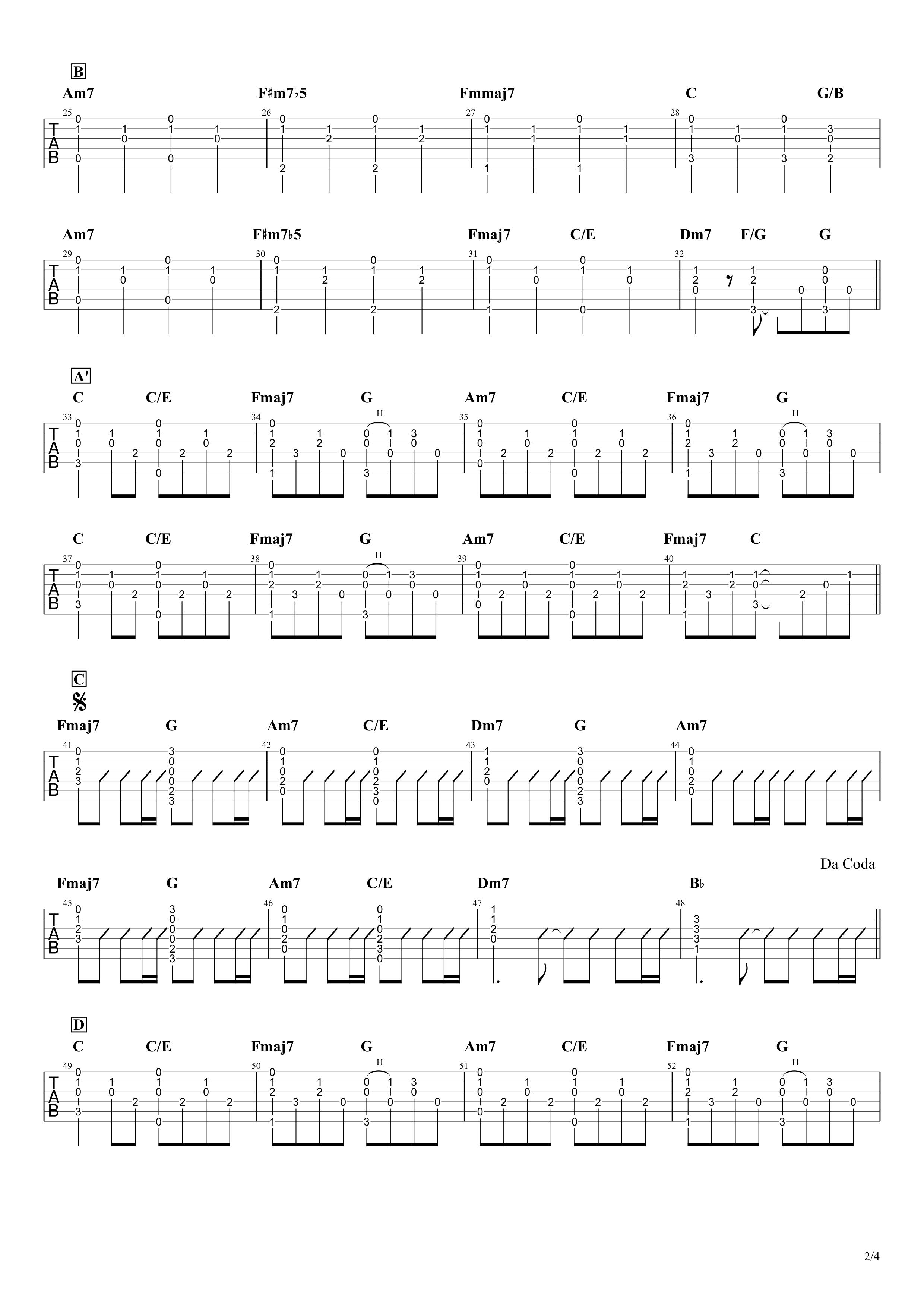奇跡/くるり ギターコード&タブ譜02