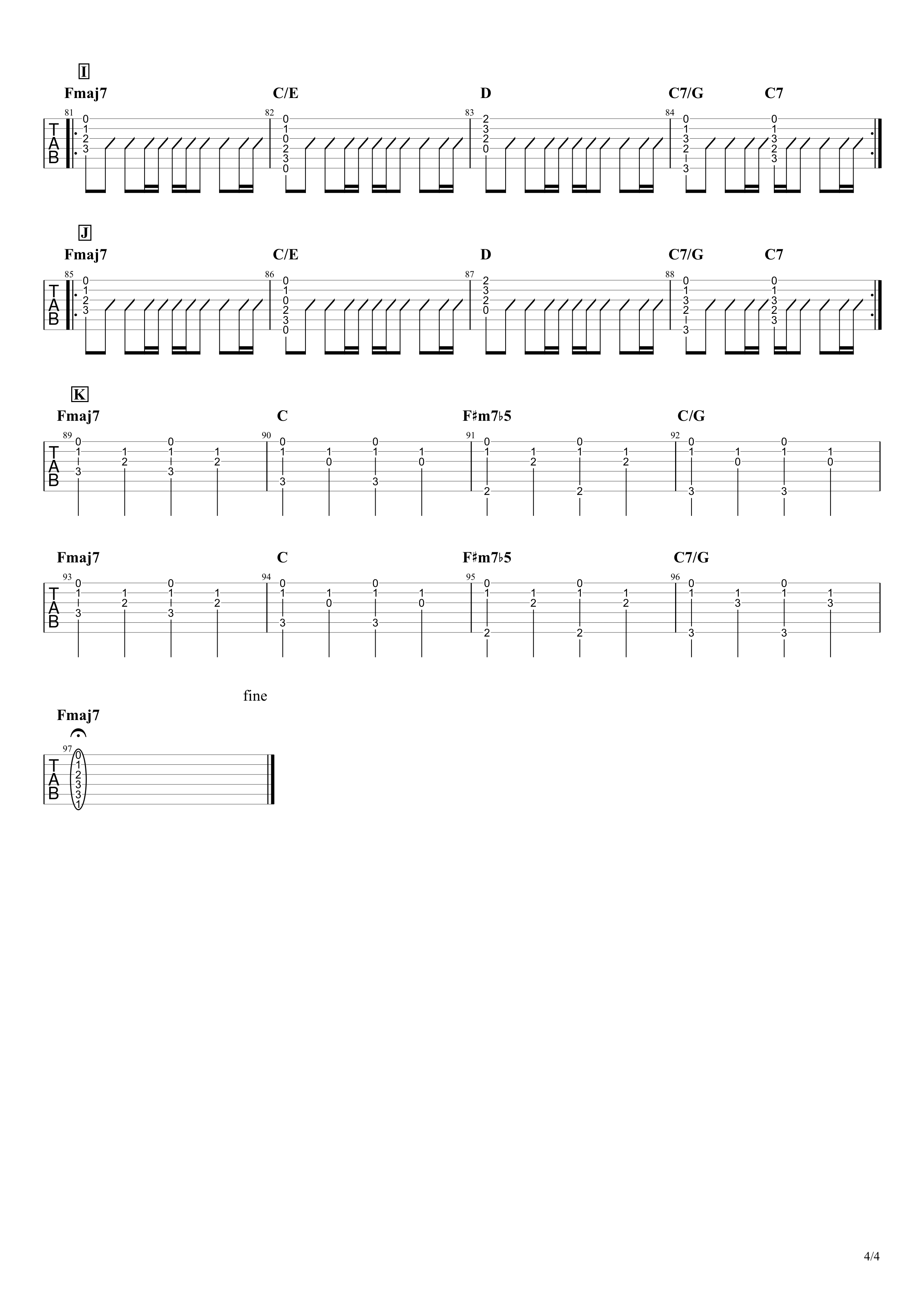 奇跡/くるり ギターコード&タブ譜04