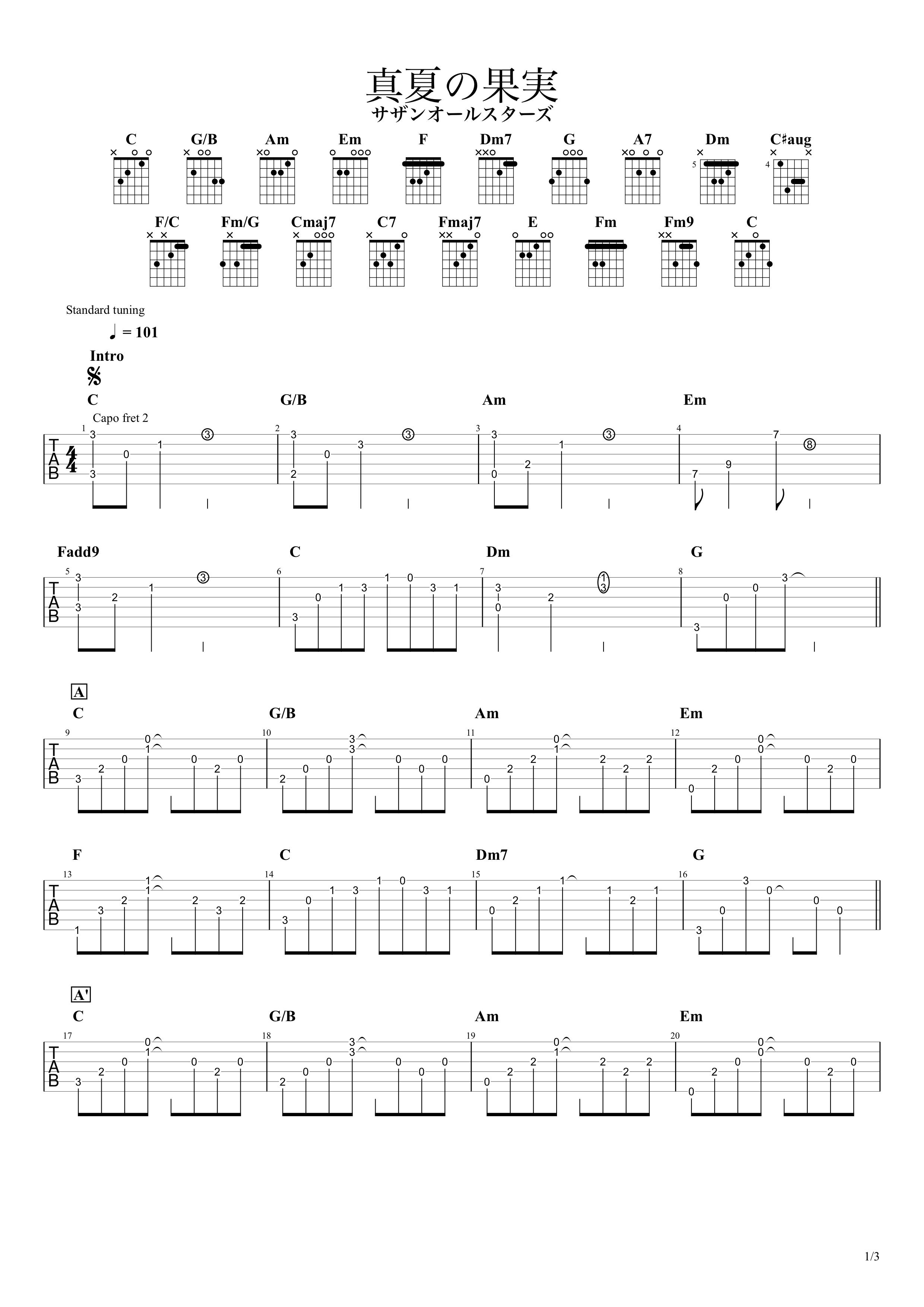 真夏の果実/サザンオールスターズ ギタータブ譜01
