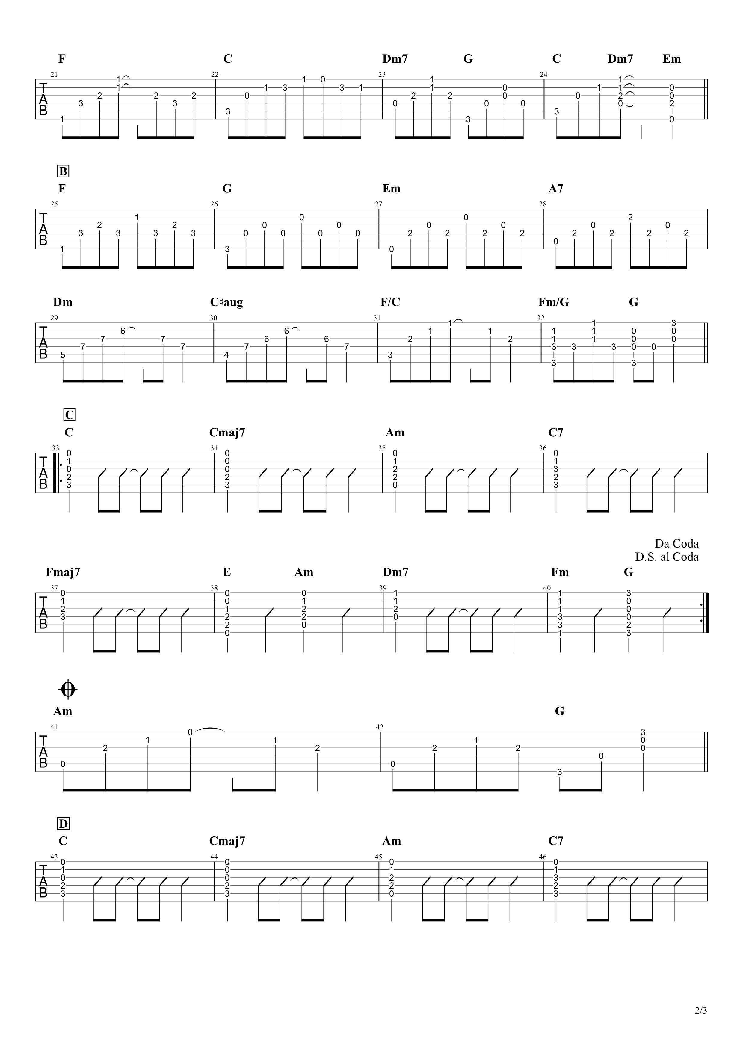 真夏の果実/サザンオールスターズ ギタータブ譜02