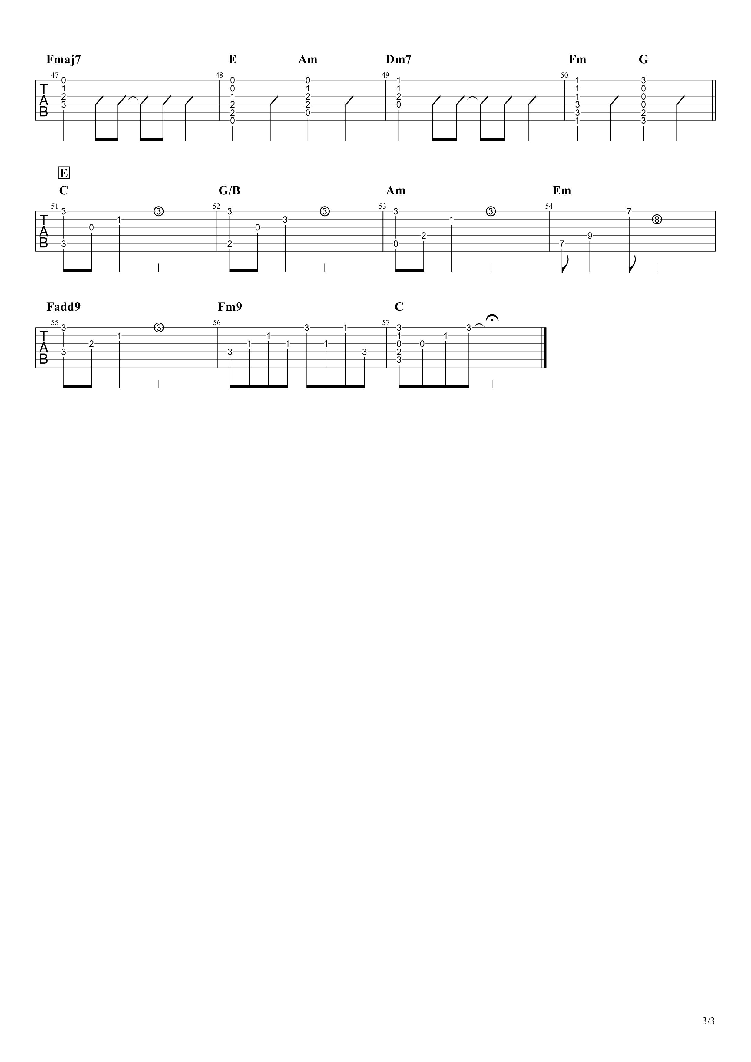 真夏の果実/サザンオールスターズ ギタータブ譜03