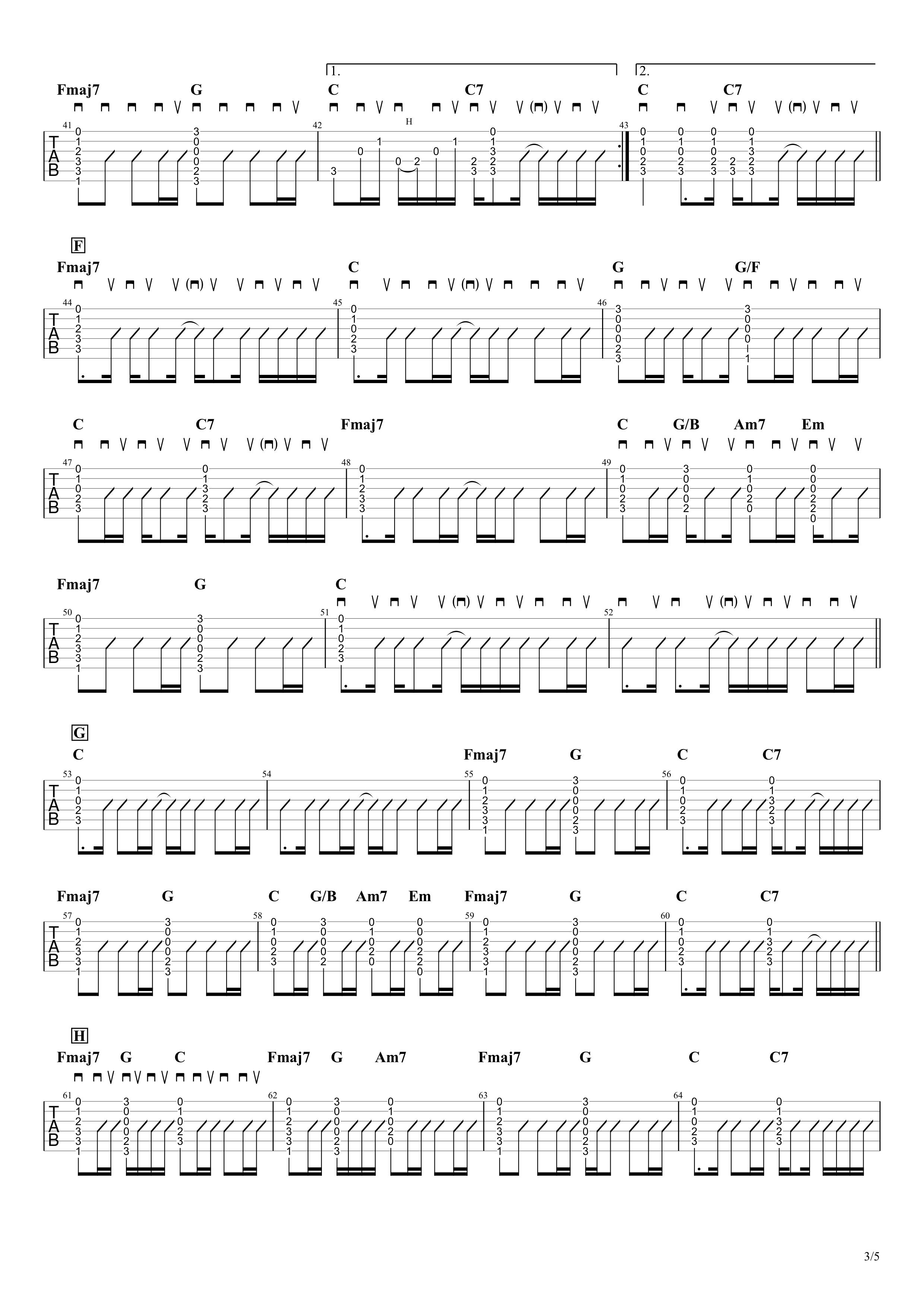 1999年、夏、沖縄/Mr.Children ギターアルペジオ&コードタブ譜|アコギパート03