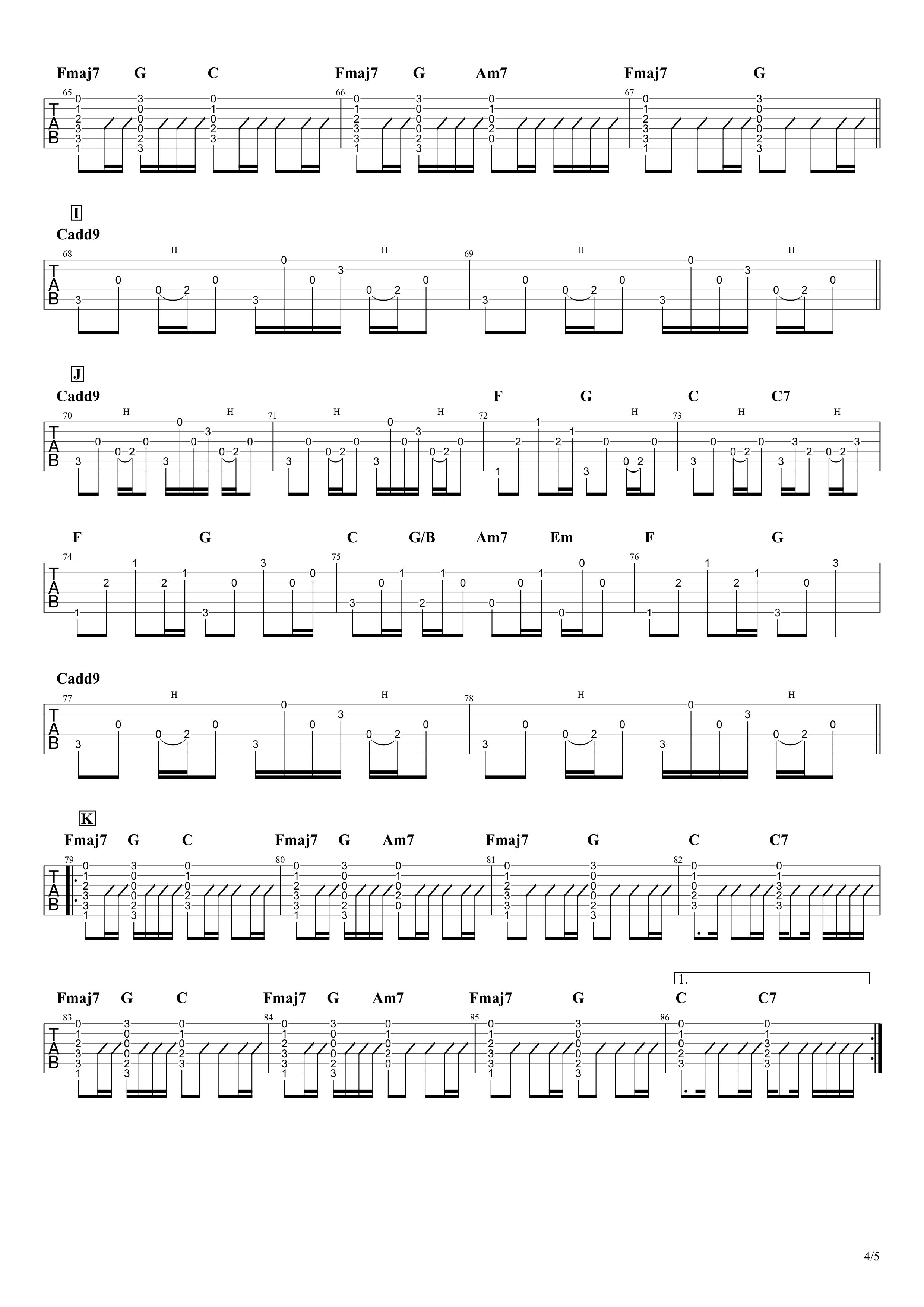 1999年、夏、沖縄/Mr.Children ギターアルペジオ&コードタブ譜|アコギパート04