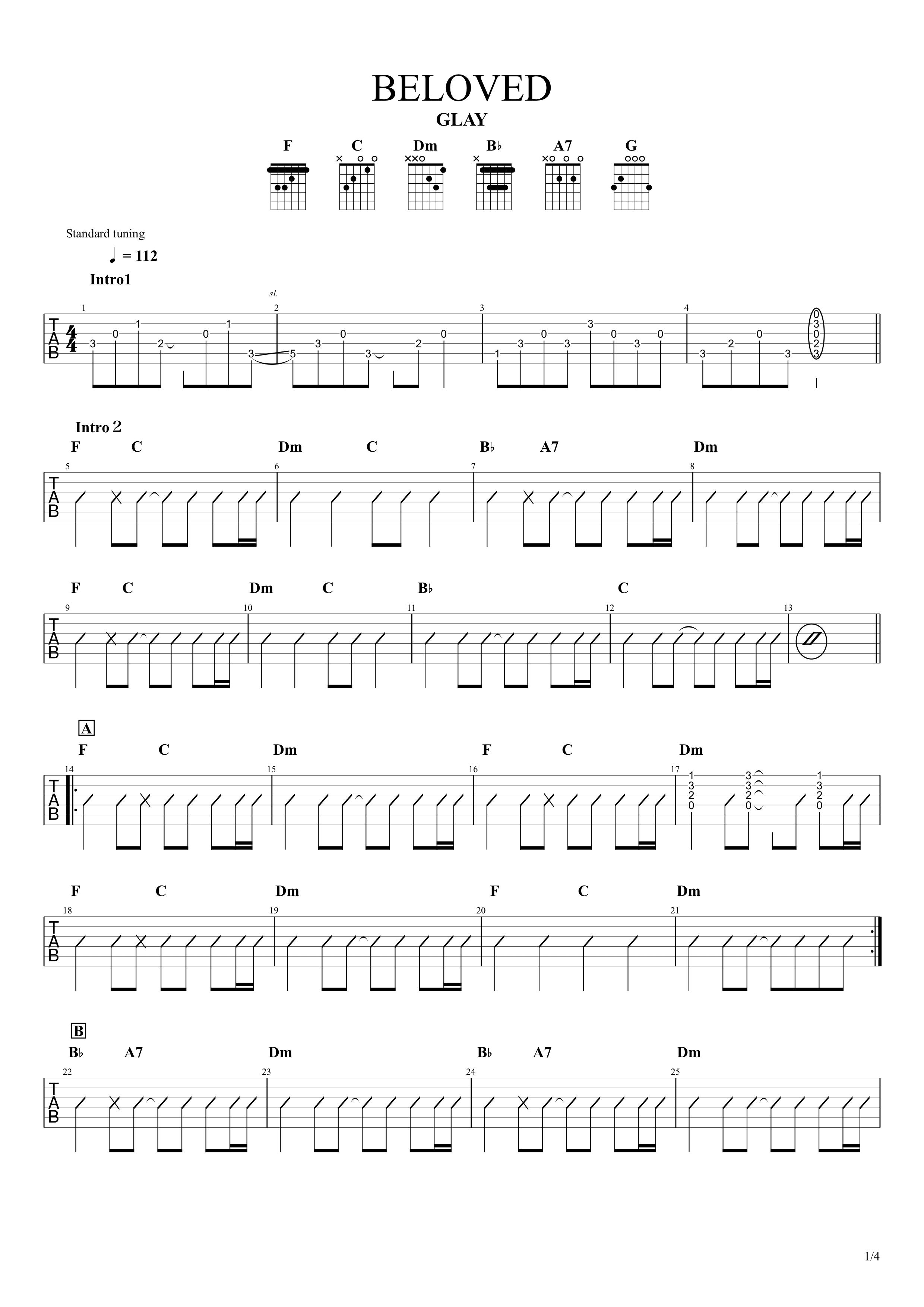 BELOVED/GLAY ギターコード&タブ譜01
