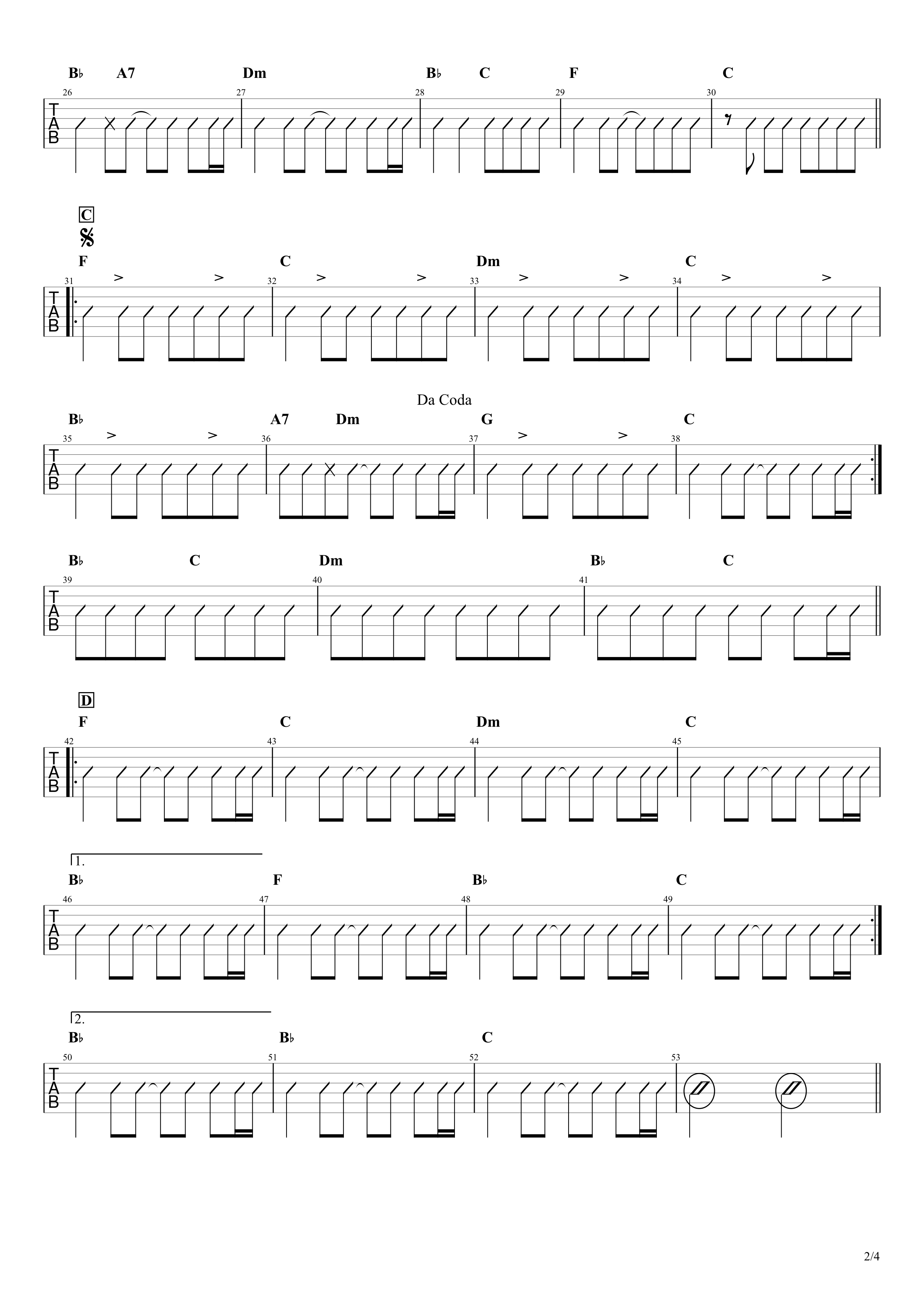 BELOVED/GLAY ギターコード&タブ譜02