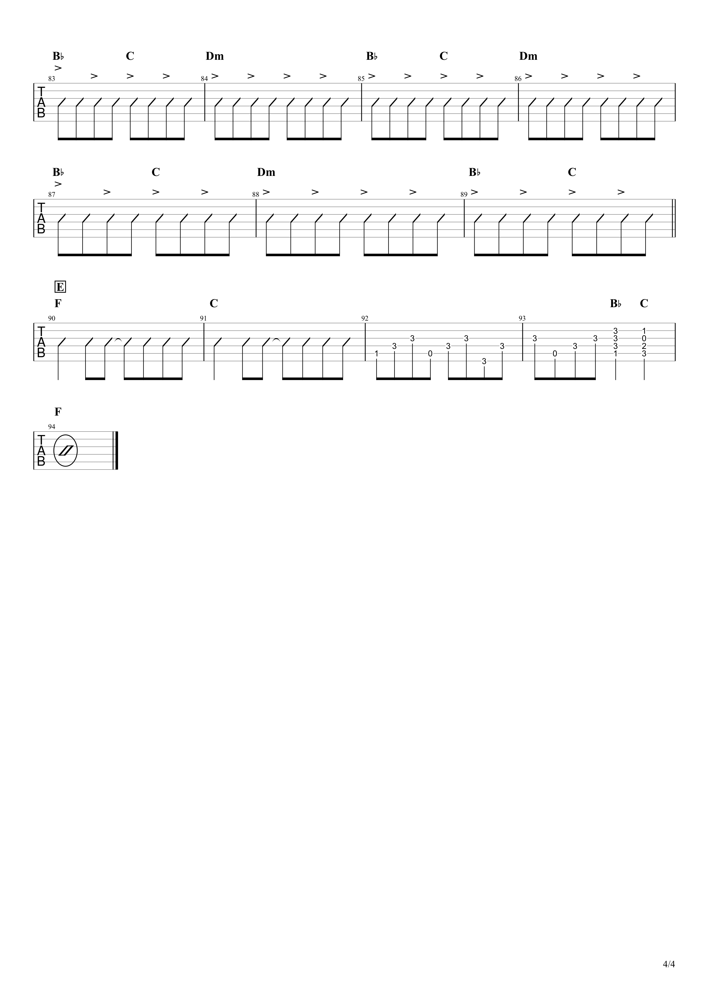 BELOVED/GLAY ギターコード&タブ譜03